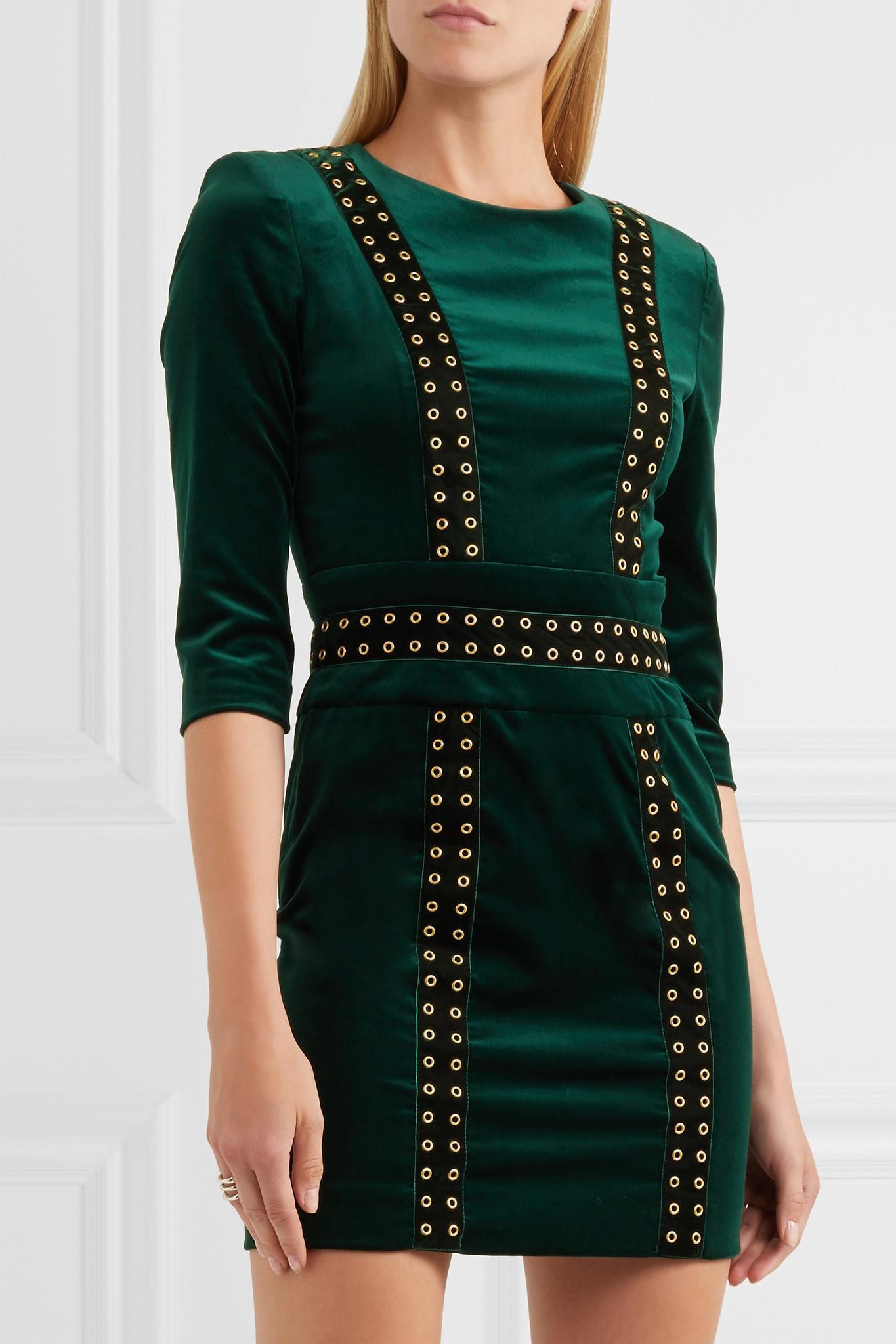 Embellished Stretch Cotton-blend Velvet Mini Dress - Emerald Balmain nb474Y2QOj
