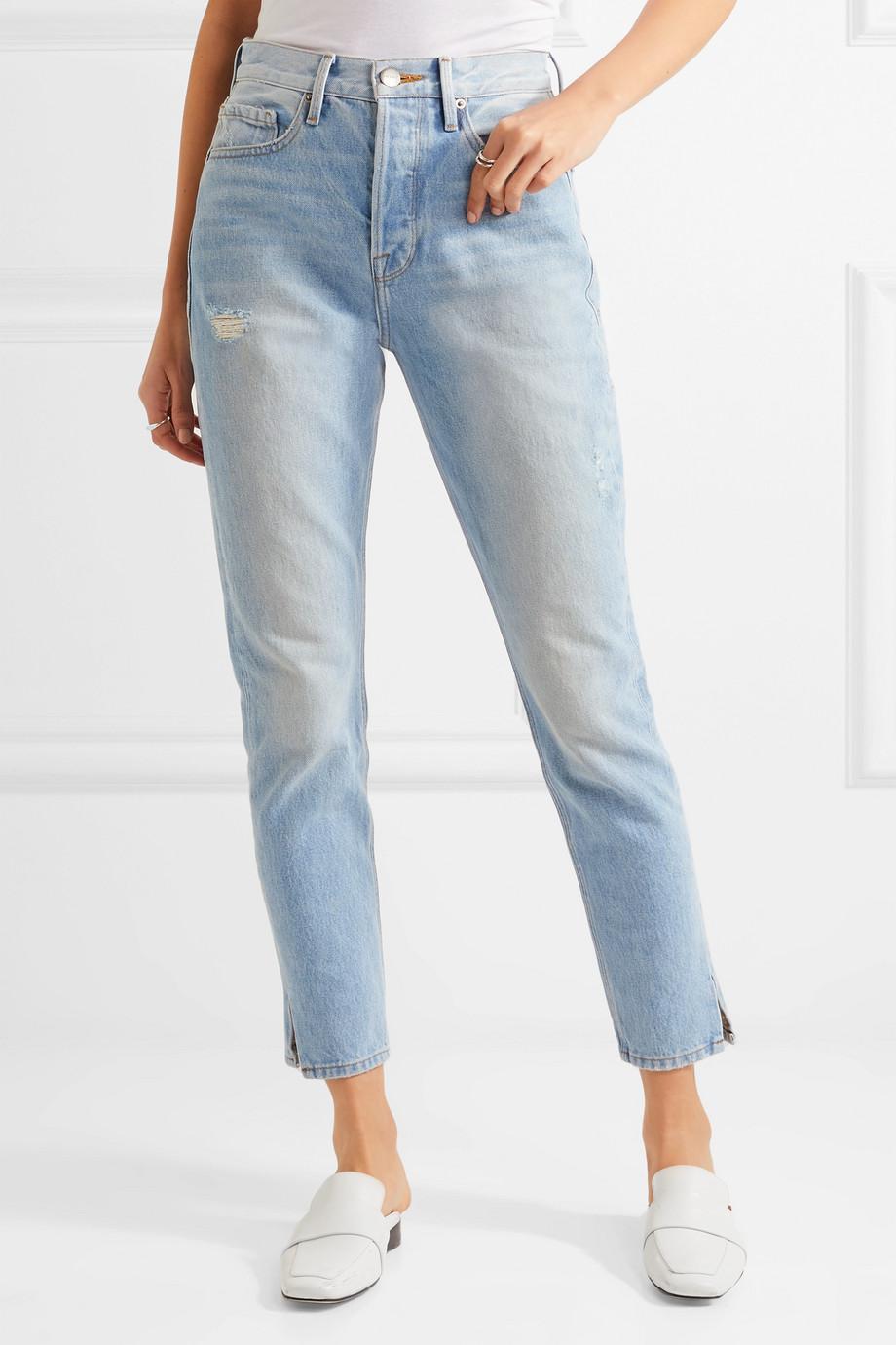Le Original Skinny Distressed High-rise Straight-leg Jeans - Blue Frame Denim kq2KMN