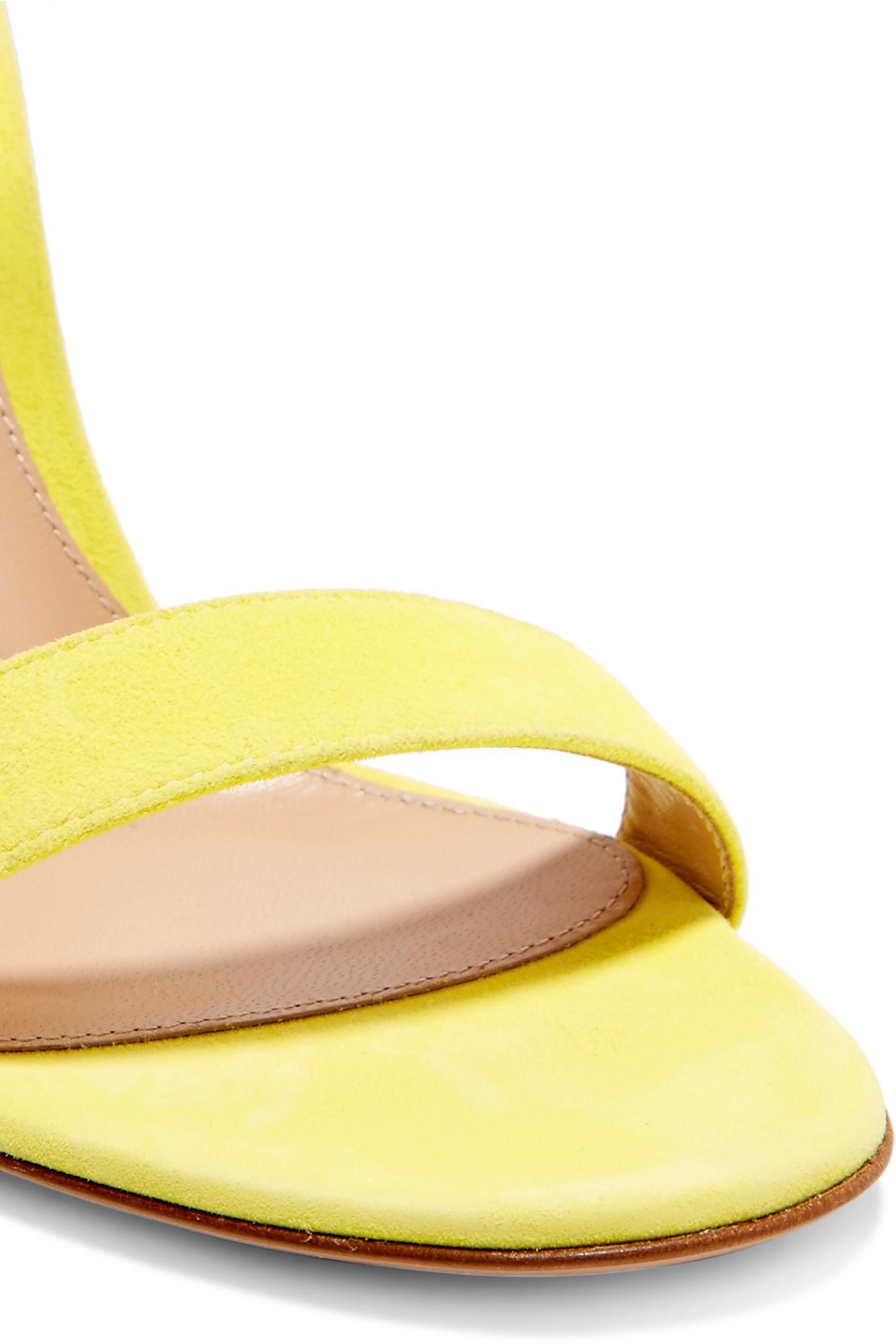 318a03ab53dd Gianvito Rossi - Yellow Portofino 85 Suede Sandals - Lyst. View fullscreen