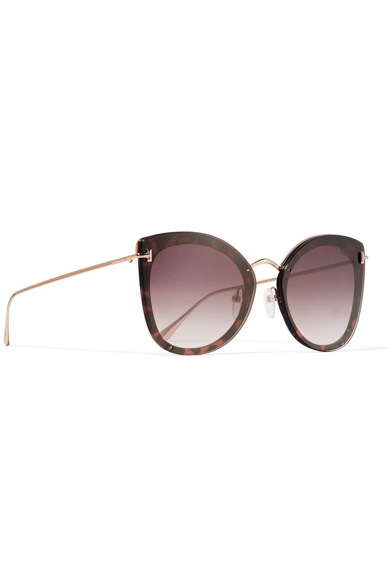 4c46a54049f6 Tom Ford - Multicolor Cat-eye Tortoiseshell Acetate And Gold-tone Sunglasses  - Lyst. View fullscreen
