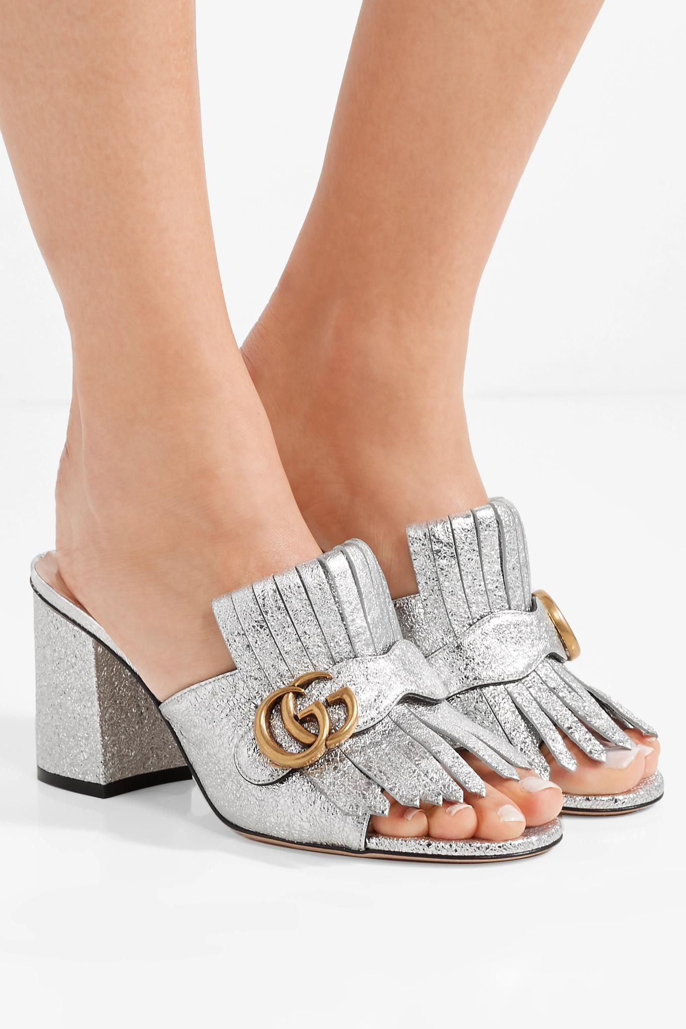 2af36db3a34 Gucci - Marmont Fringed Logo-embellished Metallic Cracked-leather Mules -  Lyst. View fullscreen