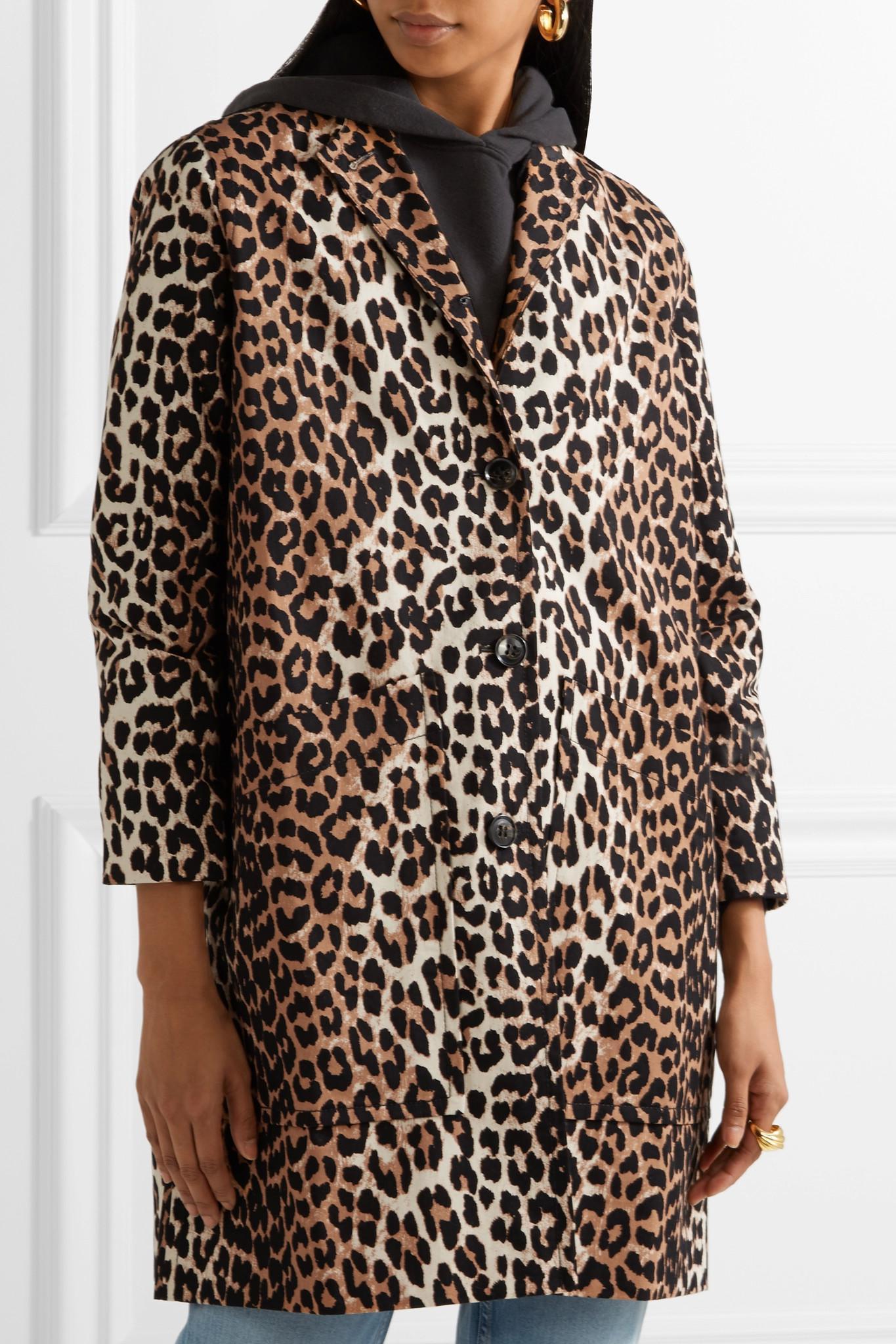 b18a4288877f Ganni Leopard-print Cotton-twill Coat in Brown - Lyst