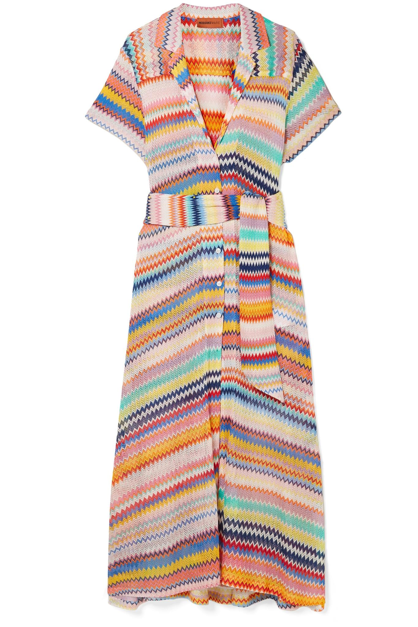 47aeffc4e2 Missoni Mare Belted Crochet-knit Midi Dress in White - Lyst