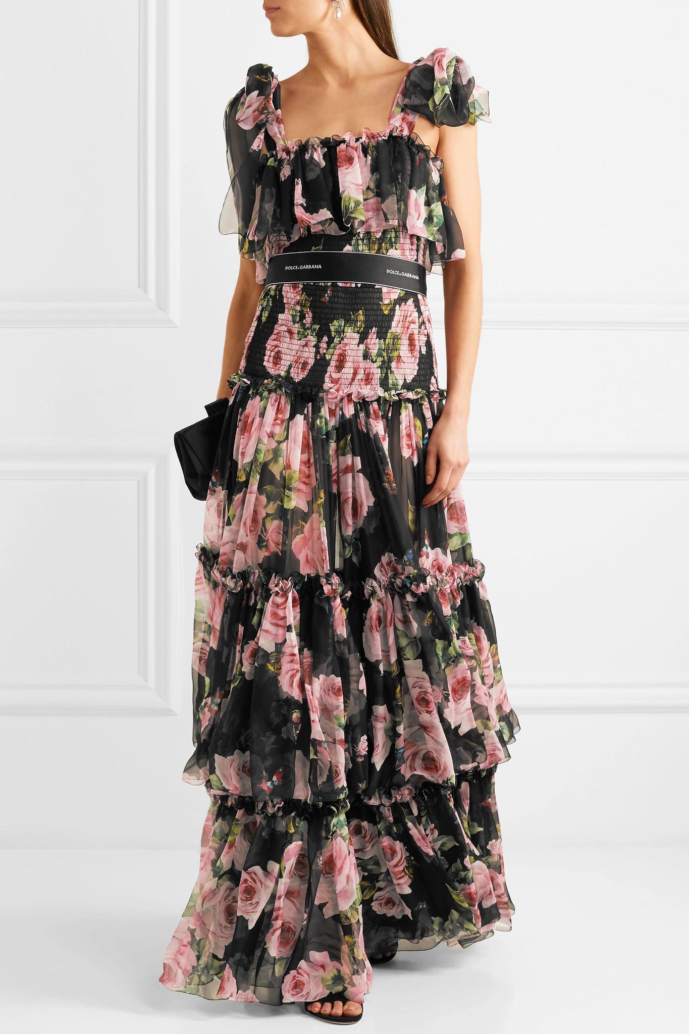 Dolce & Gabbana Shirred floral-print silk-chiffon gown