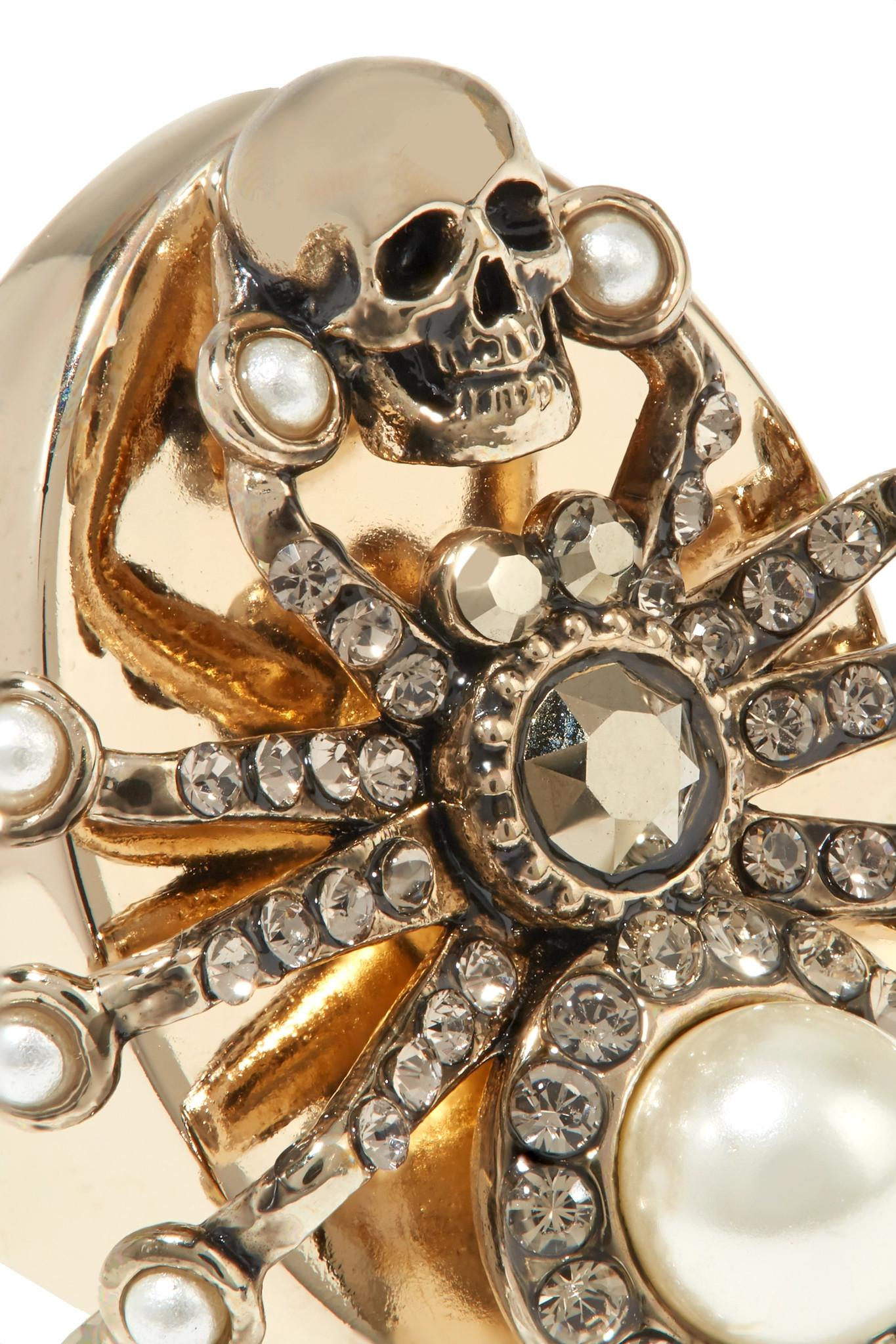 2b647d8c2e0a1 Alexander McQueen Gold-plated, Swarovski Crystal And Faux Pearl Ring ...