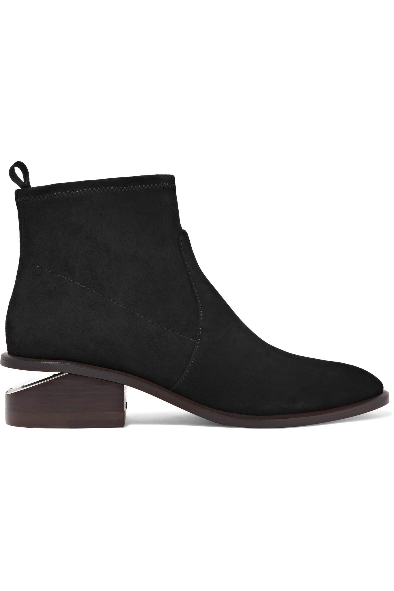 wang kori cutout suede ankle boots in black lyst