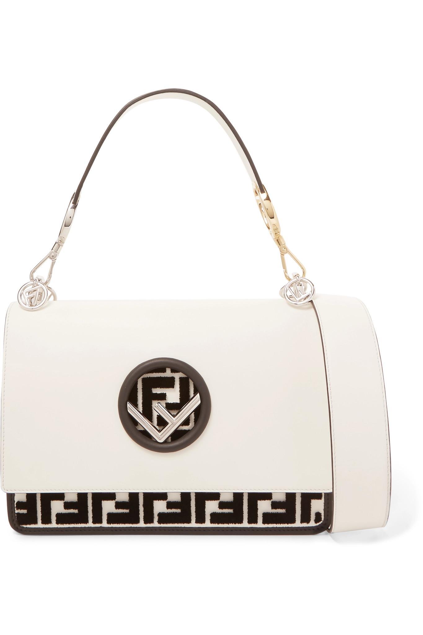 db73648131 Fendi Kan I Flocked Leather Shoulder Bag in White - Lyst
