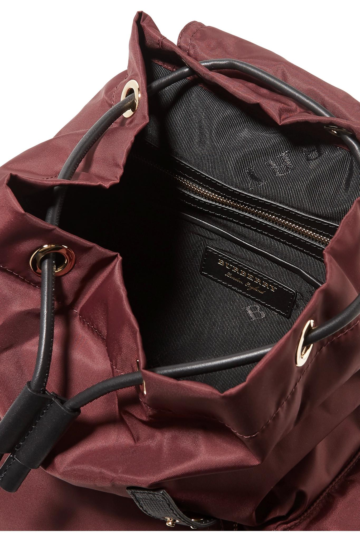 Leather-trimmed Gabardine Backpack - Burgundy Burberry BNQEigFcvo