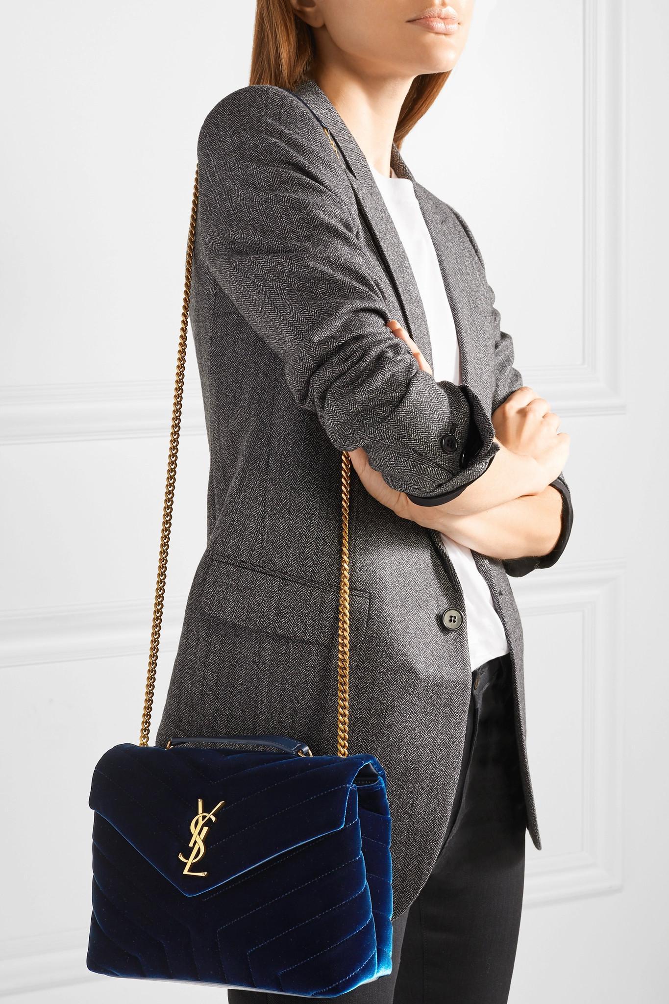 cd63fb209b Lyst - Saint Laurent Loulou Small Quilted Velvet Shoulder Bag in Blue