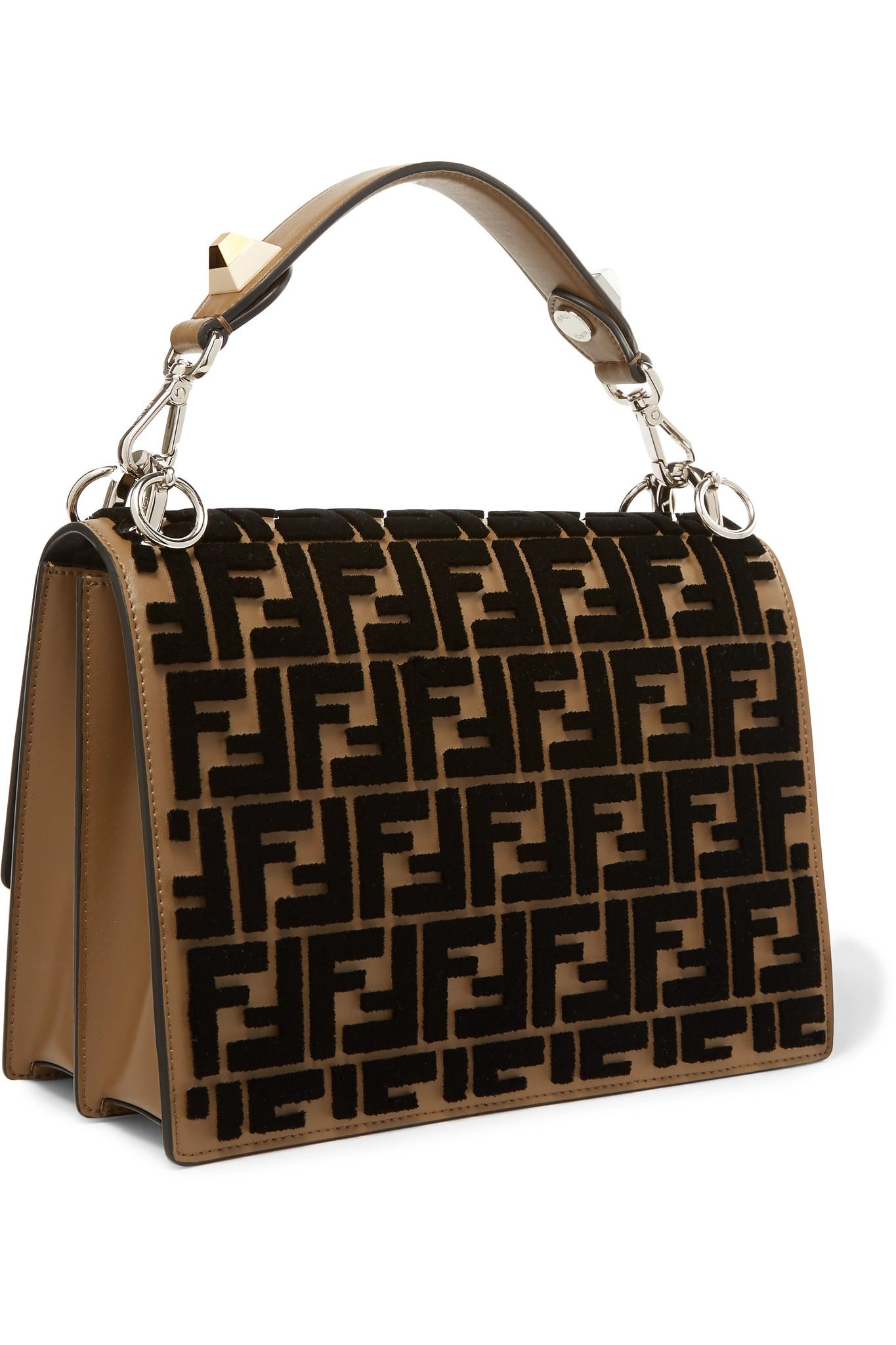 Lyst - Fendi Kan I Flocked Leather Shoulder Bag in Brown 9c30119876477