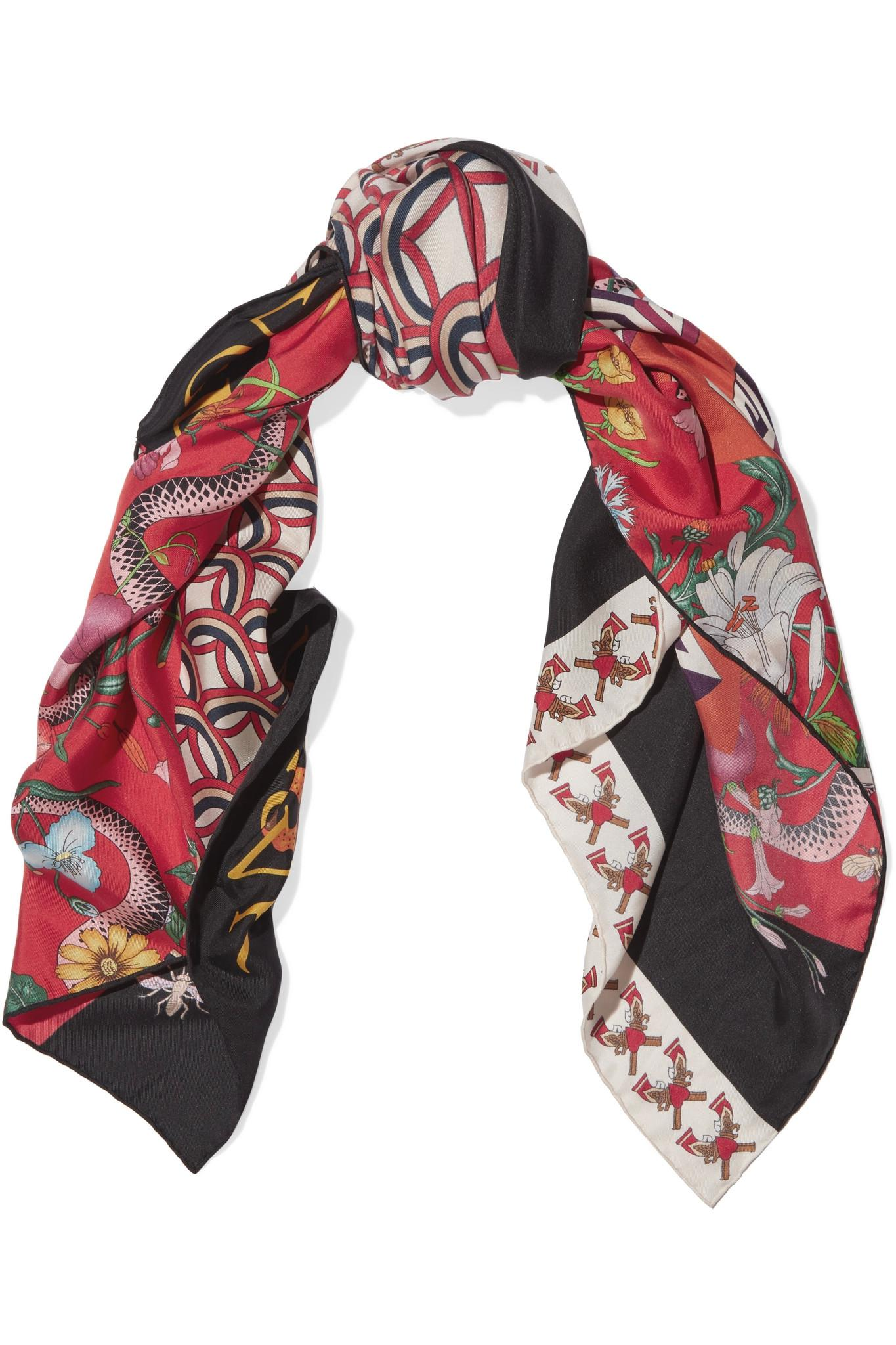 Gucci Printed Silk Twill Scarf In Red Lyst