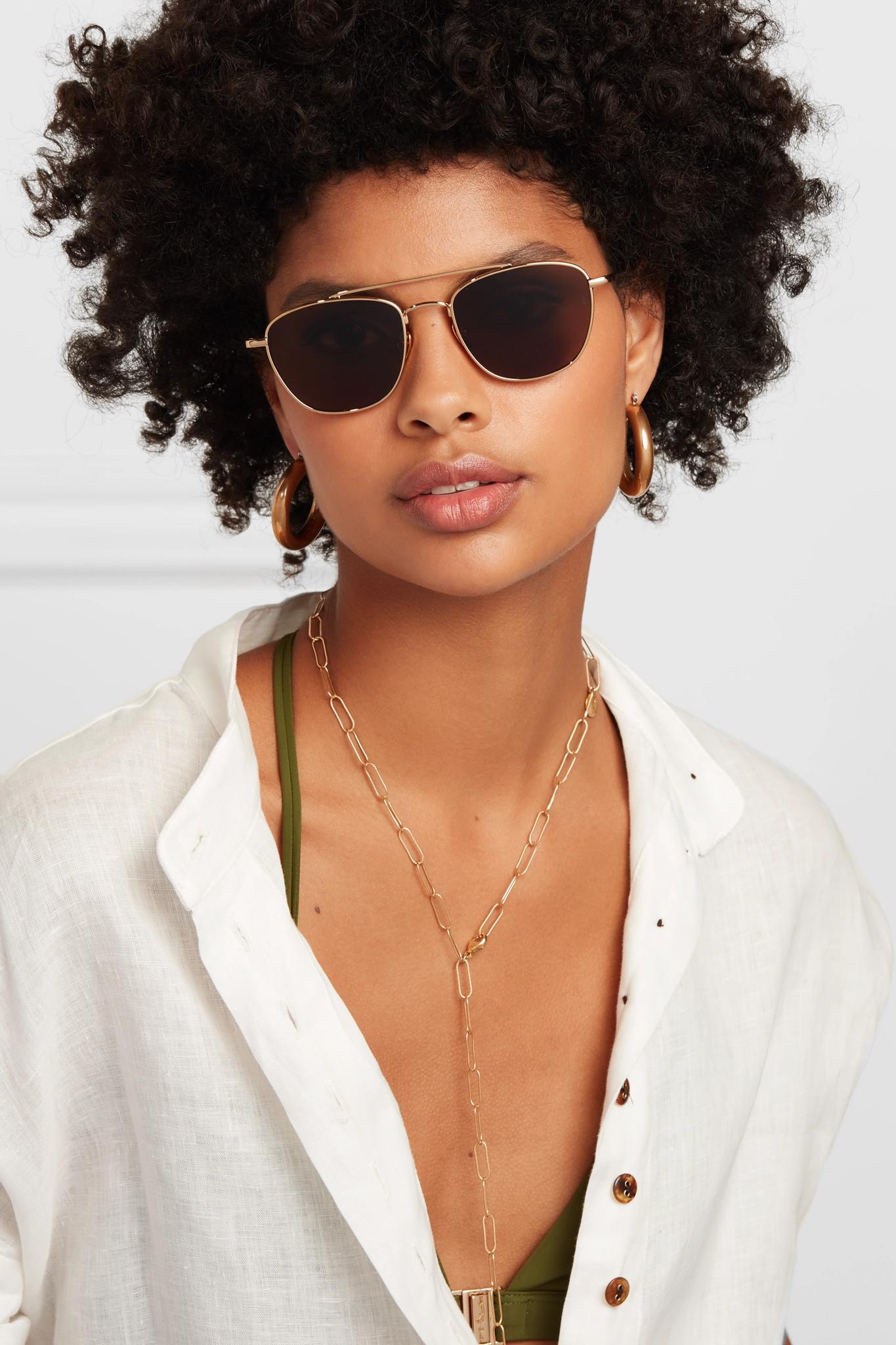 90957ac18183e Lyst - Sunday Somewhere Romeo Aviator-style Gold-tone Sunglasses in ...