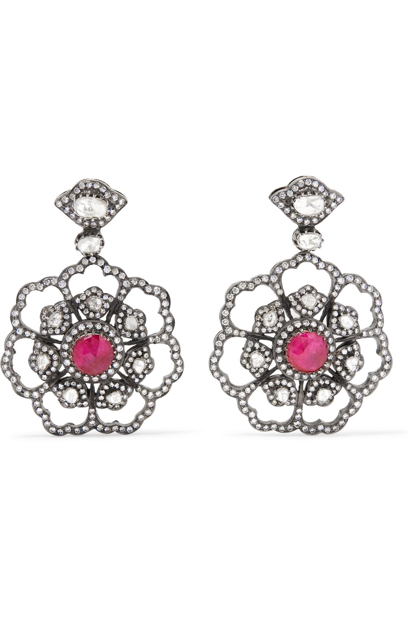 Amrapali 18-karat Gold, Sterling Silver, Diamond And Ruby Earrings
