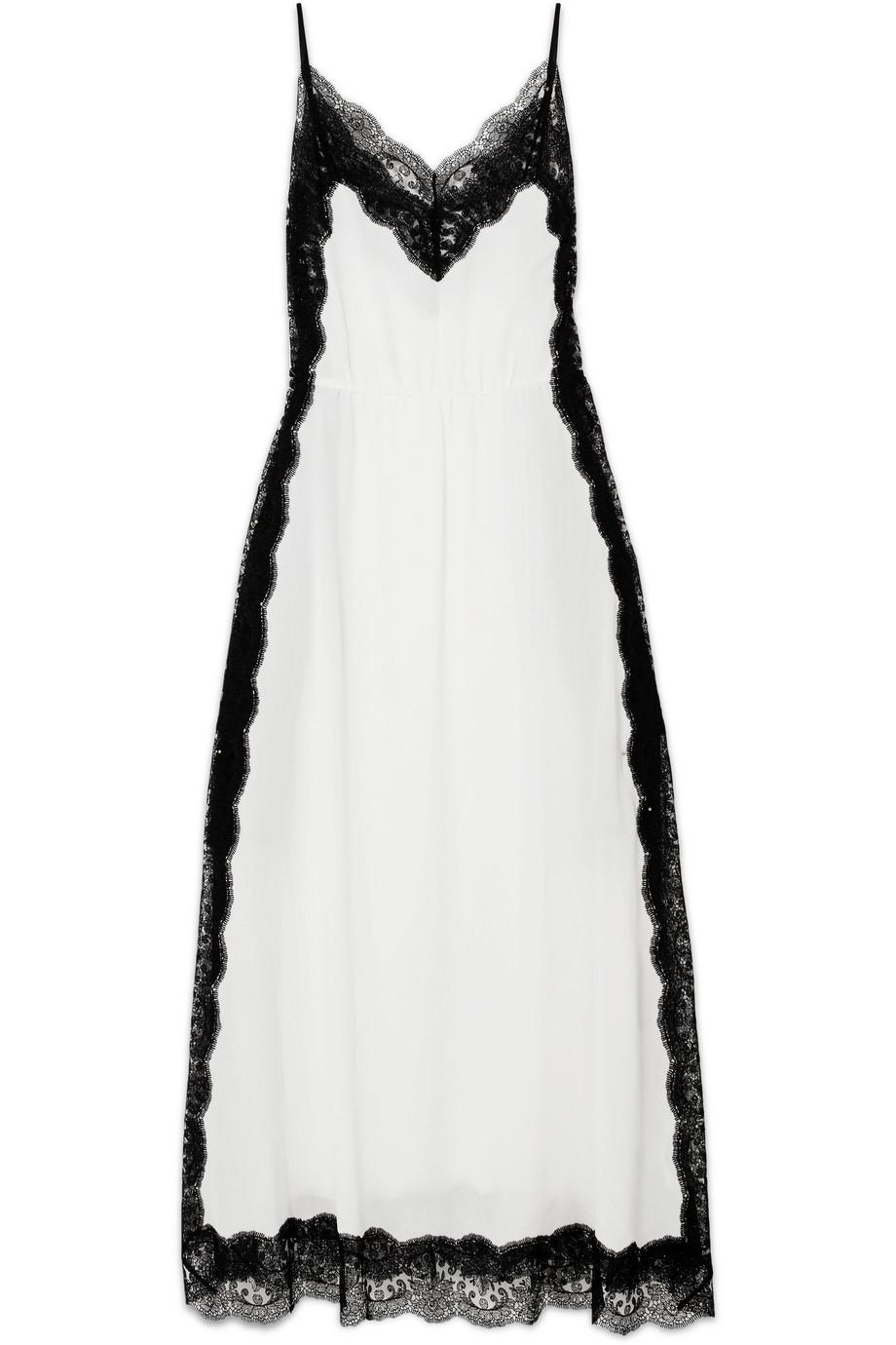 dfc388b0f0da Lyst - Christopher Kane Woman Lace-trimmed Silk-georgette Maxi Slip ...