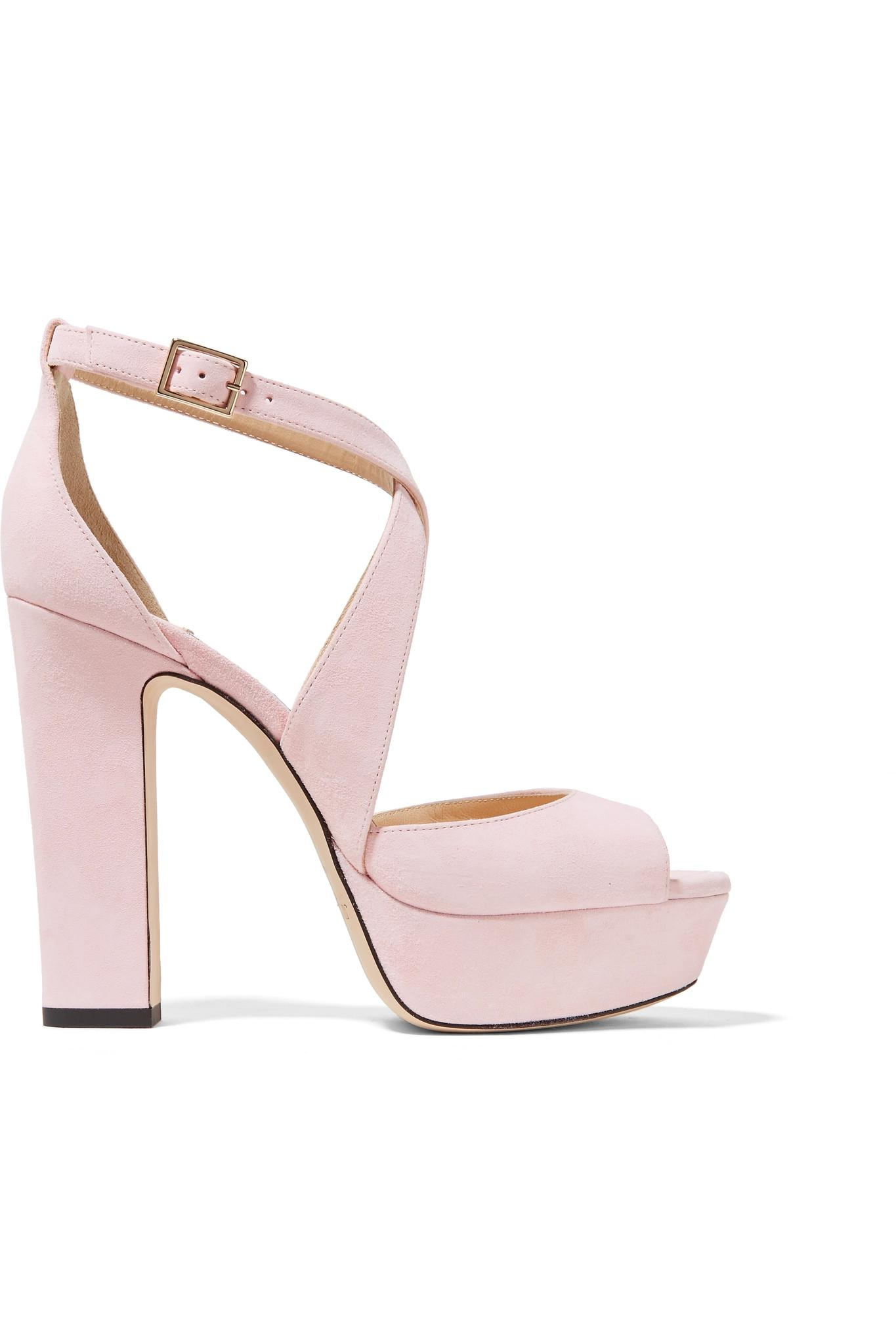 63d8655b39a6 Lyst - Jimmy Choo April 120 Suede Platform Sandals in Pink