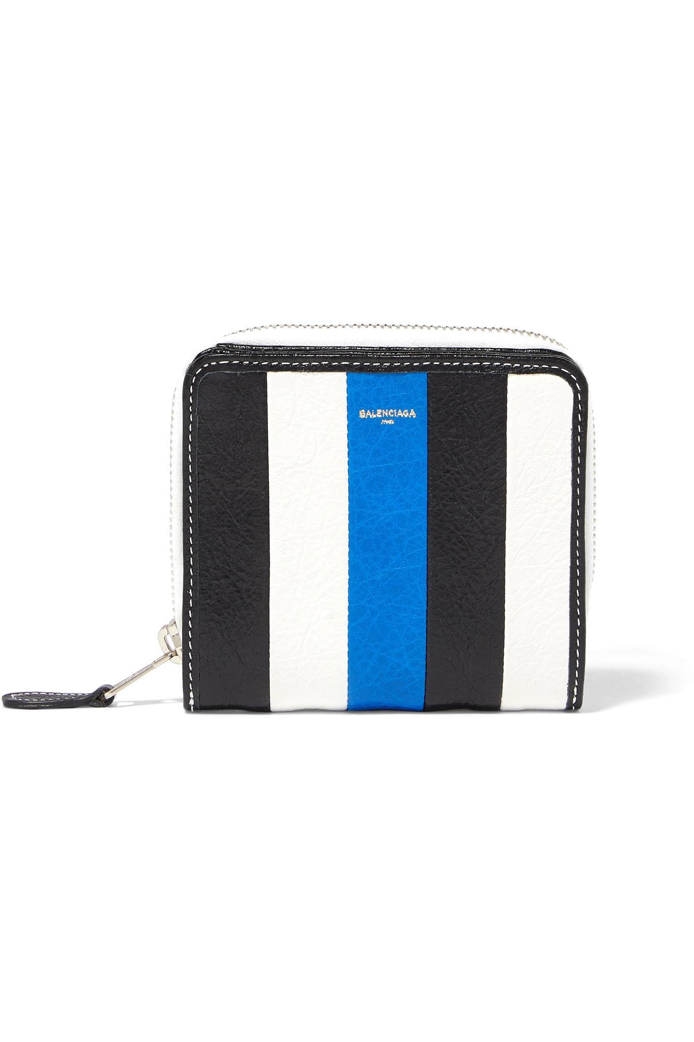 Bazar Striped Textured-leather Wallet - Blue Balenciaga kJD7ju