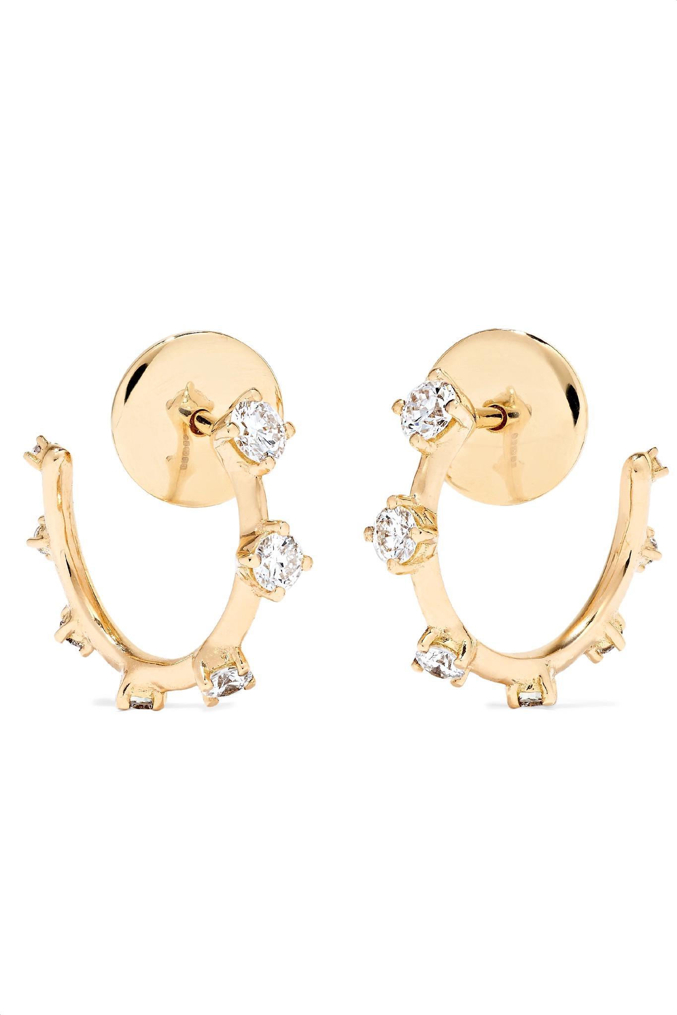Fernando Jorge Women S Metallic Sequence 18 Karat Gold Diamond Hoop Earrings