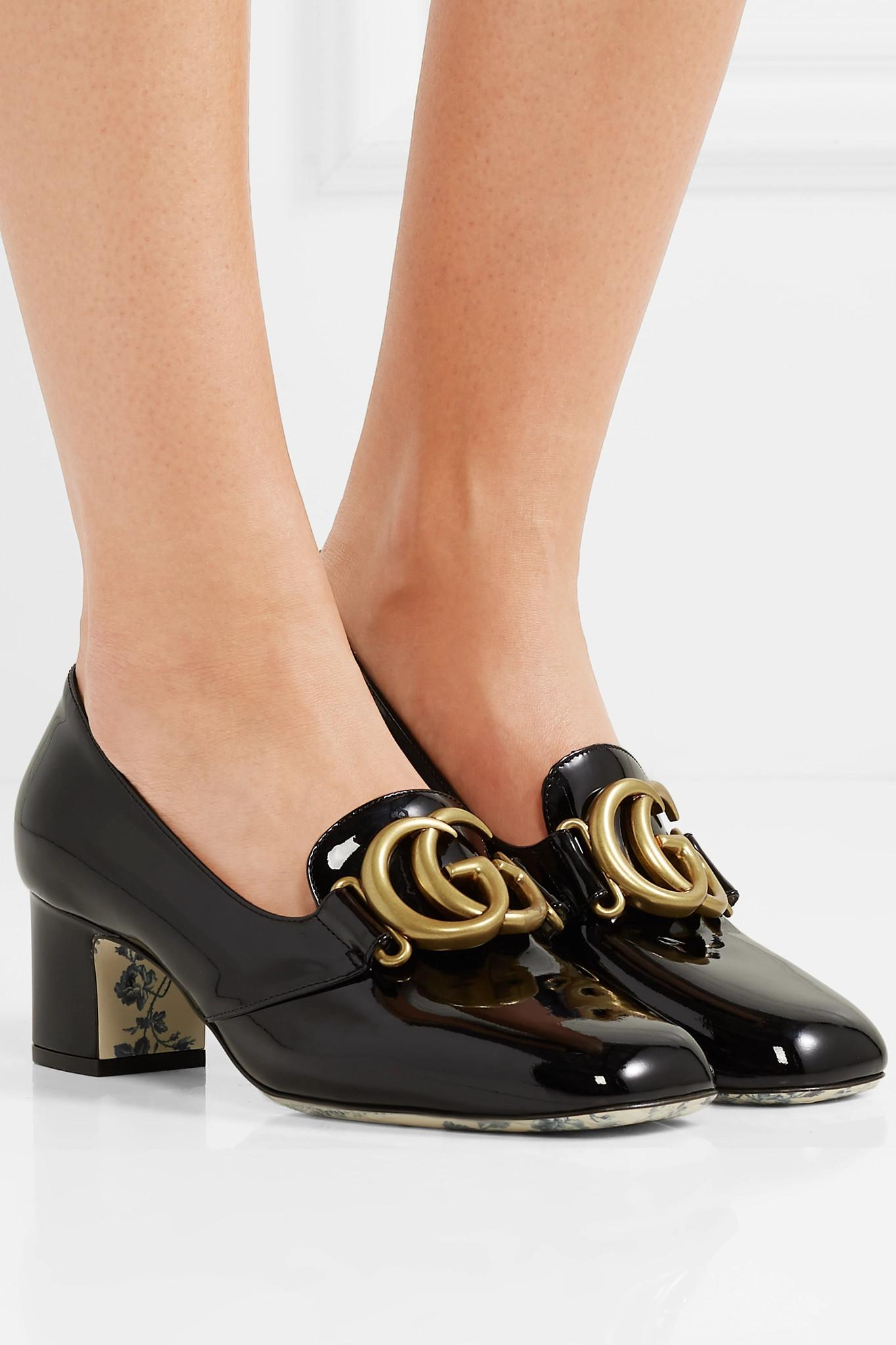 462713781c1 Gucci - Black Victoire Logo-embellished Patent-leather Pumps - Lyst. View  fullscreen