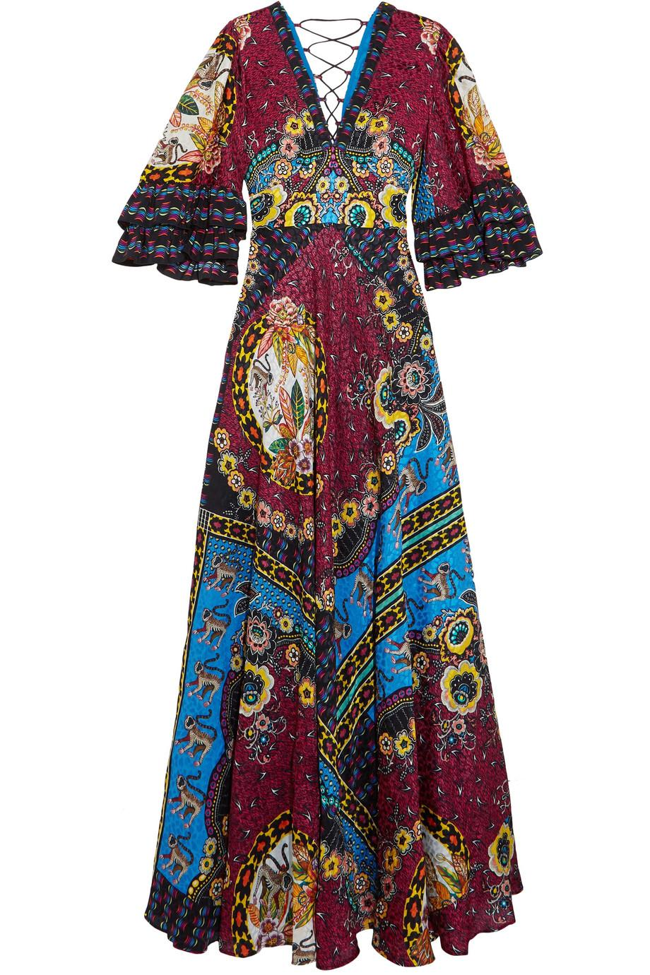 Ruffled Silk-jacquard And Printed Crepe De Chine Maxi Dress - Red Etro JqA7ra3