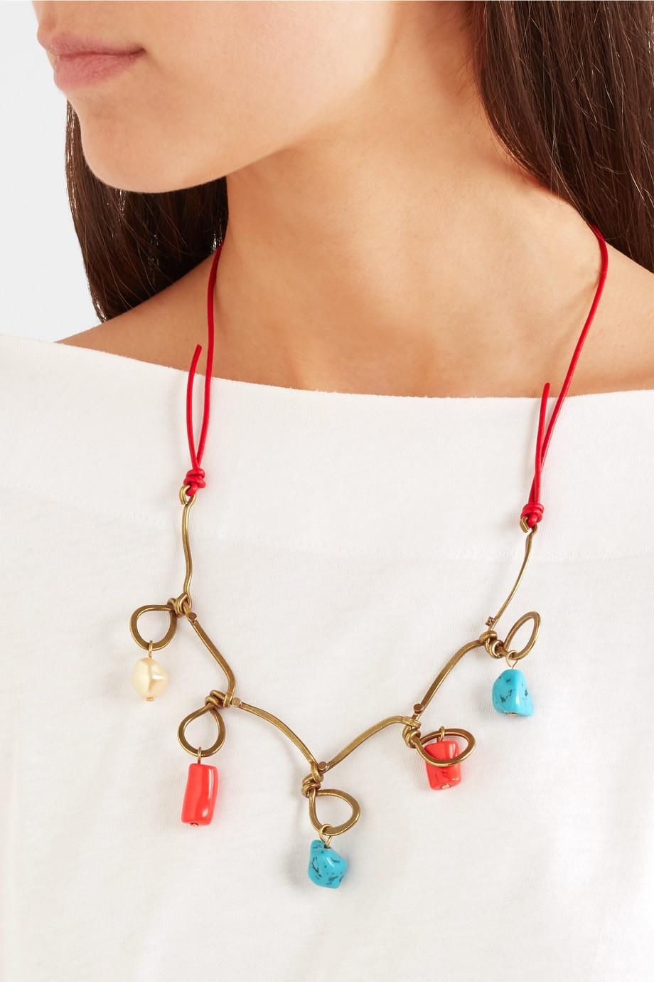 Marni Gold-tone, Leather, Resin And Faux Pearl Necklace - Brass