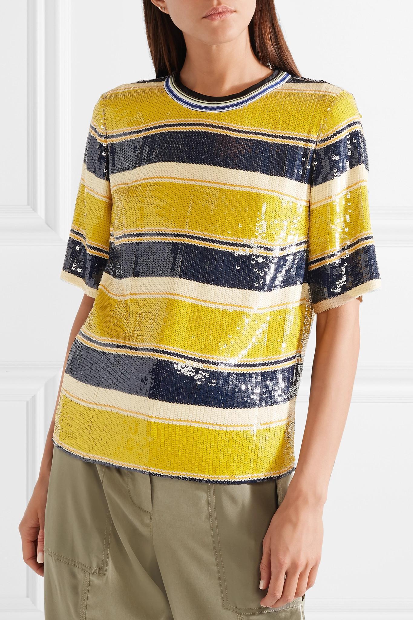 Striped Sequined Silk T-shirt - Yellow 3.1 Phillip Lim Buy Cheap Ebay Cheap 2018 New Cheap Pick A Best E322pjl
