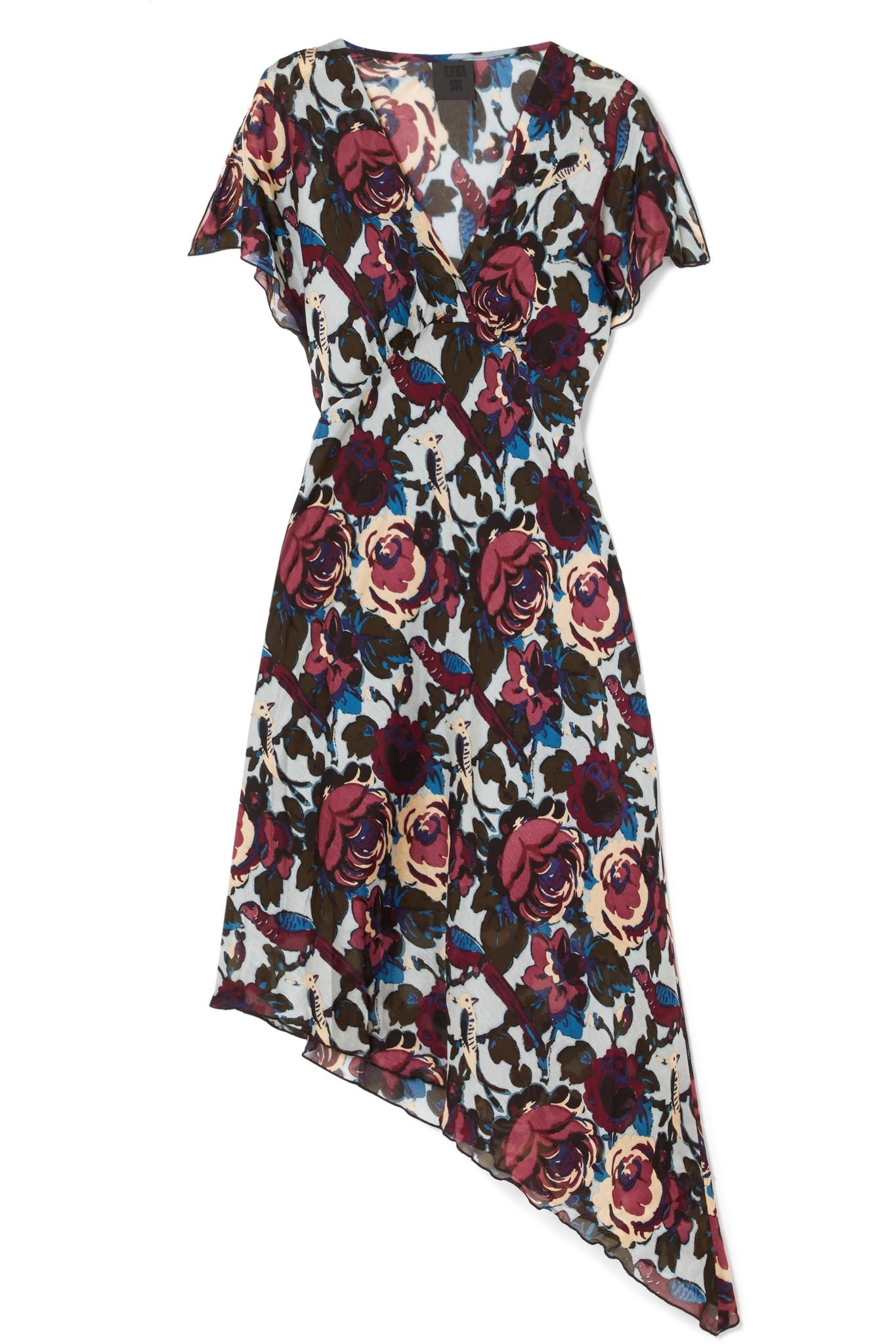 Birds And Roses Printed Silk-chiffon Dress - Blue Anna Sui FHvDZKHh5g