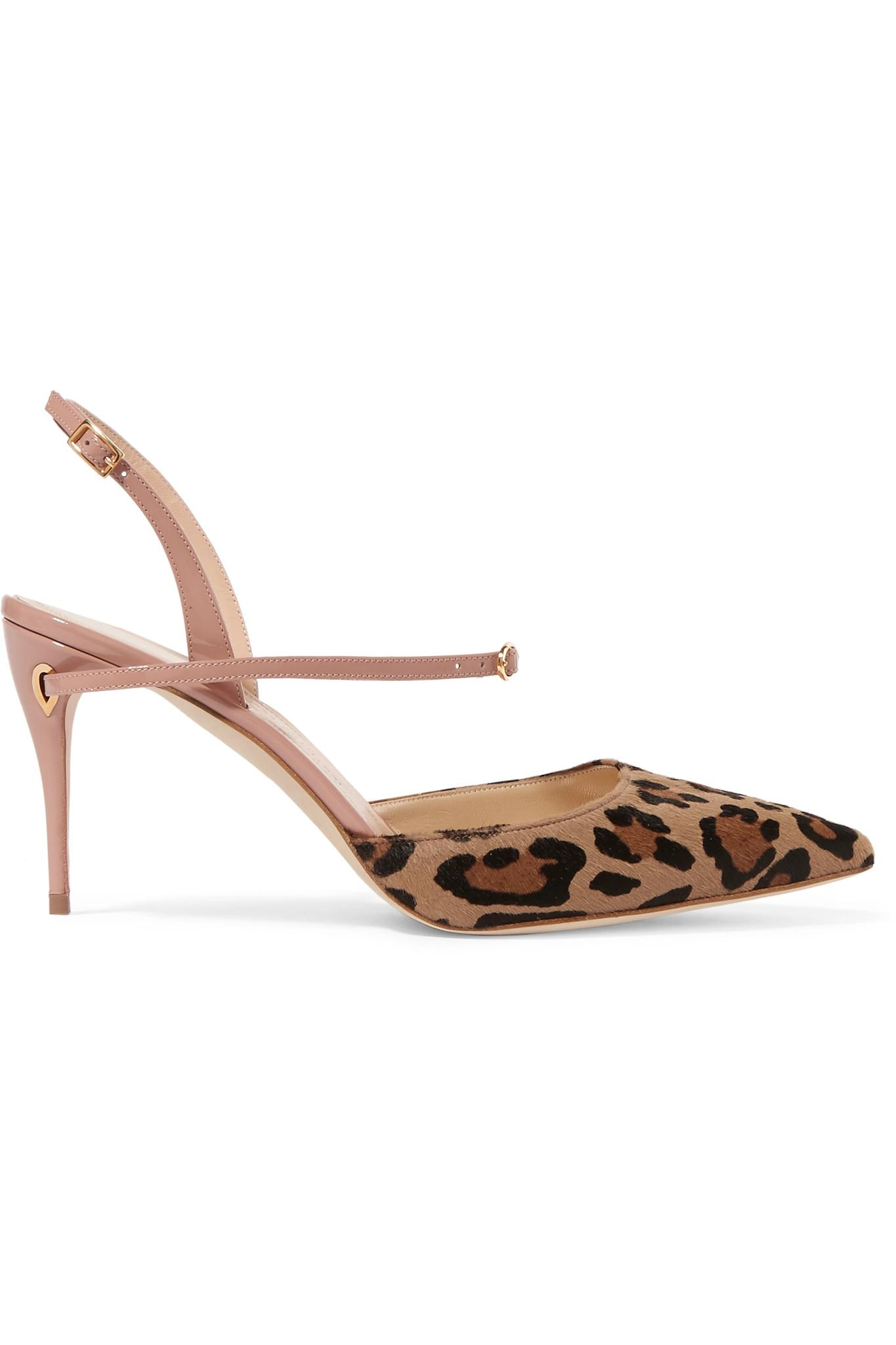 89bfdebb207 Jennifer Chamandi. Women s Vittorio Leopard-print Calf Hair And Patent-leather  Slingback Court Shoes