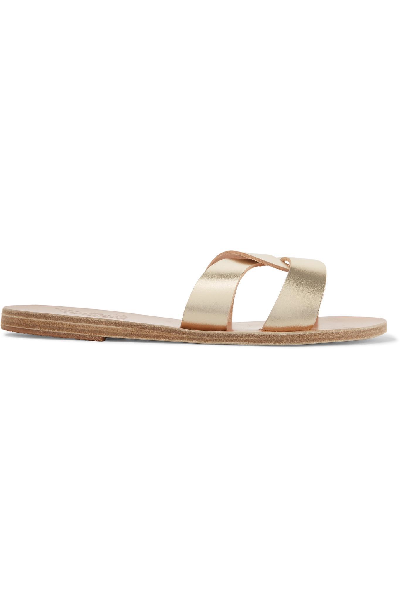 65f89edca91614 Claquettes En Cuir Métallisé à Découpes Desmos Ancient Greek Sandals ...