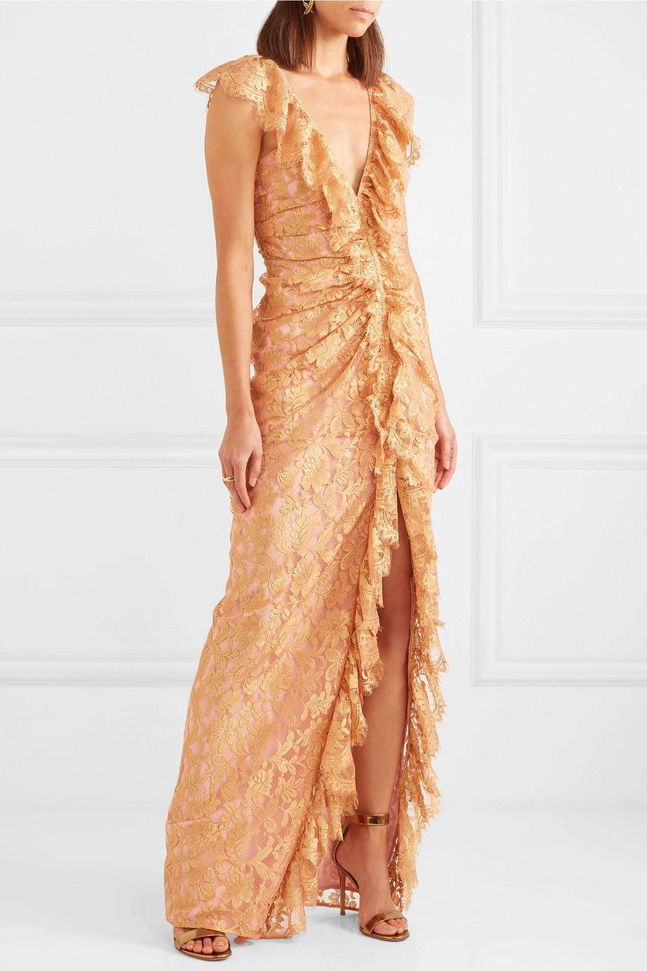 Notion Ruffled Metallic Chantilly Lace Gown - Pink Alice McCall Cheap Sale With Credit Card Clearance Pay With Visa DAgOT