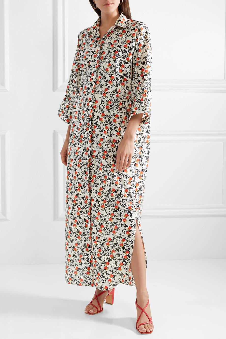Sultry Floral-print Cotton Maxi Dress - Cream By Malene Birger lWJ7f2