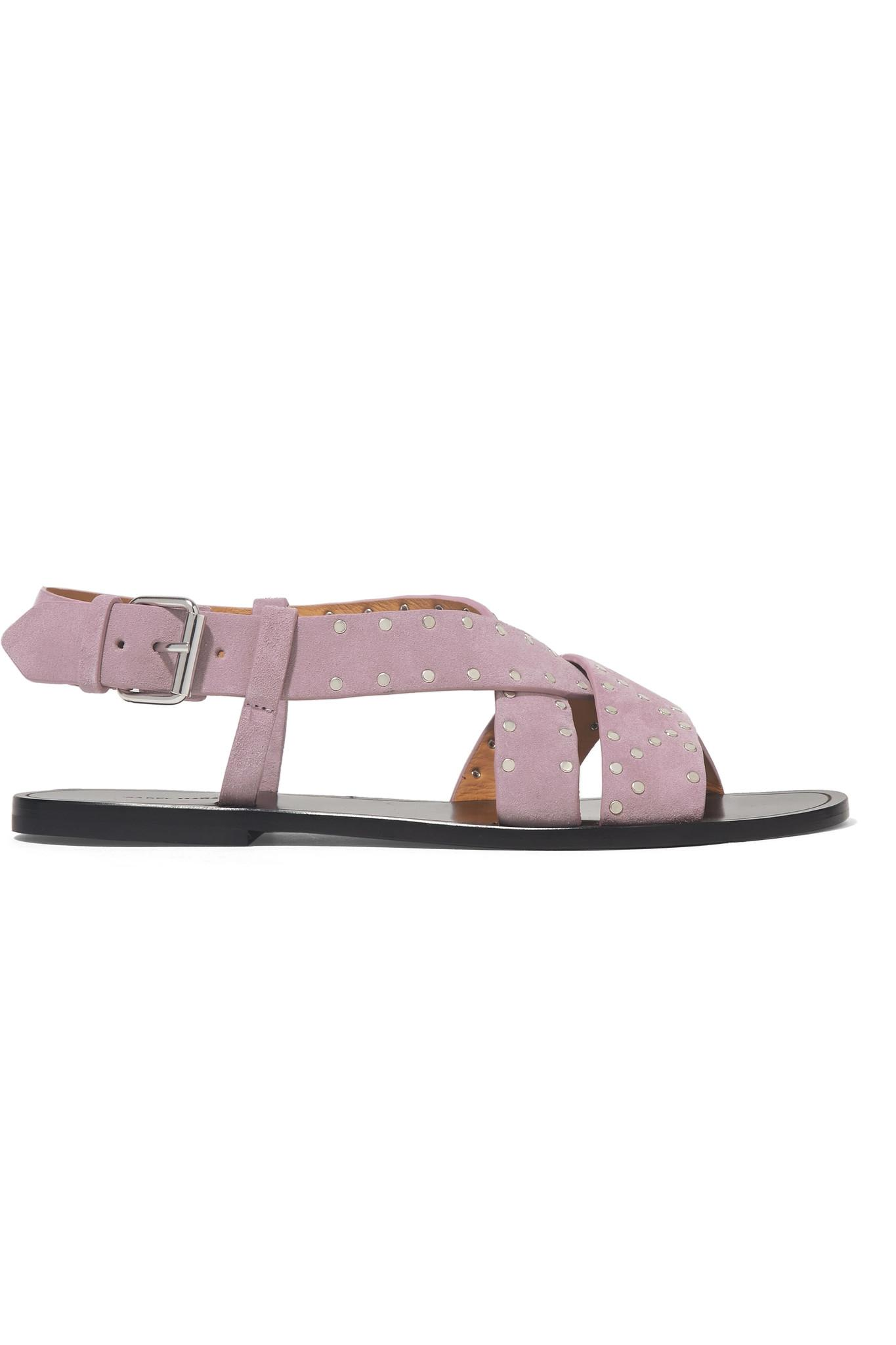 3ea18aa79f7 Lyst - Isabel Marant Jano Studded Suede Slingback Sandals in Purple