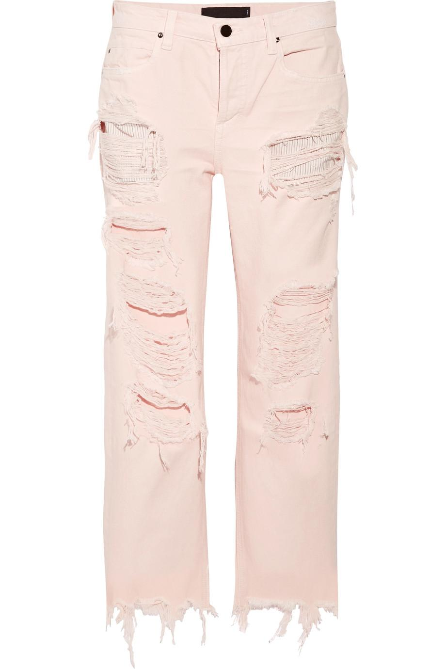 Rival Cropped Distressed High-rise Straight-leg Jeans - Baby pink Alexander Wang mPXx0