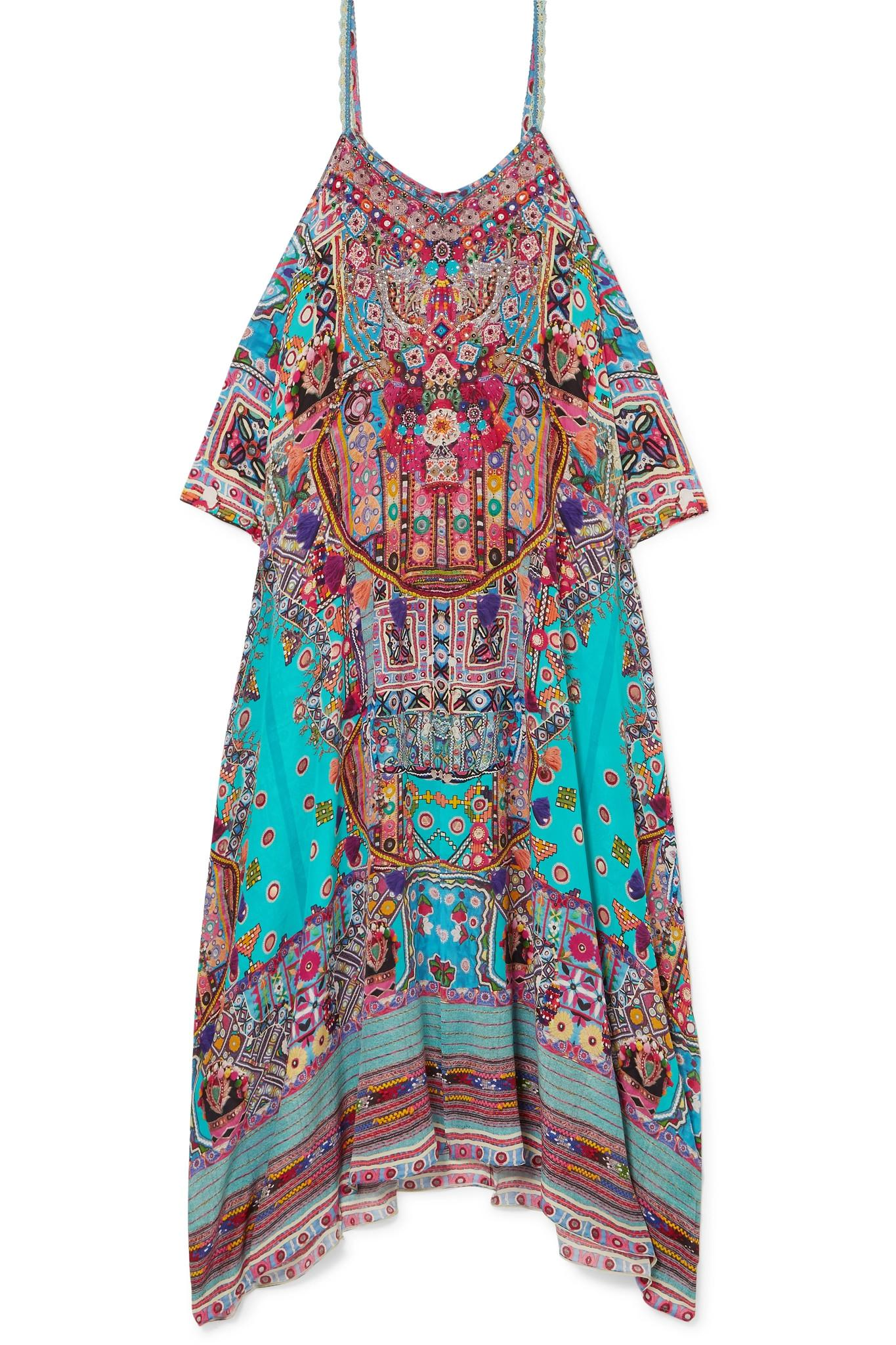 The Long Way Home Embellished Printed Silk Crepe De Chine Kaftan - Brown Camilla With Credit Card Online Shop Offer Cheap Online 9kZExPlJPs