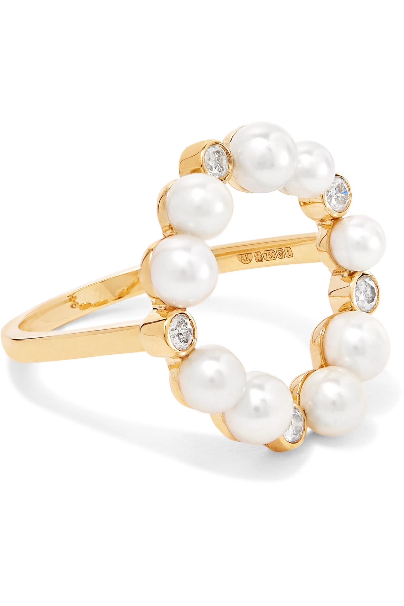 Lyst Anissa Kermiche Rond De Perle 18 Karat Gold Diamond And