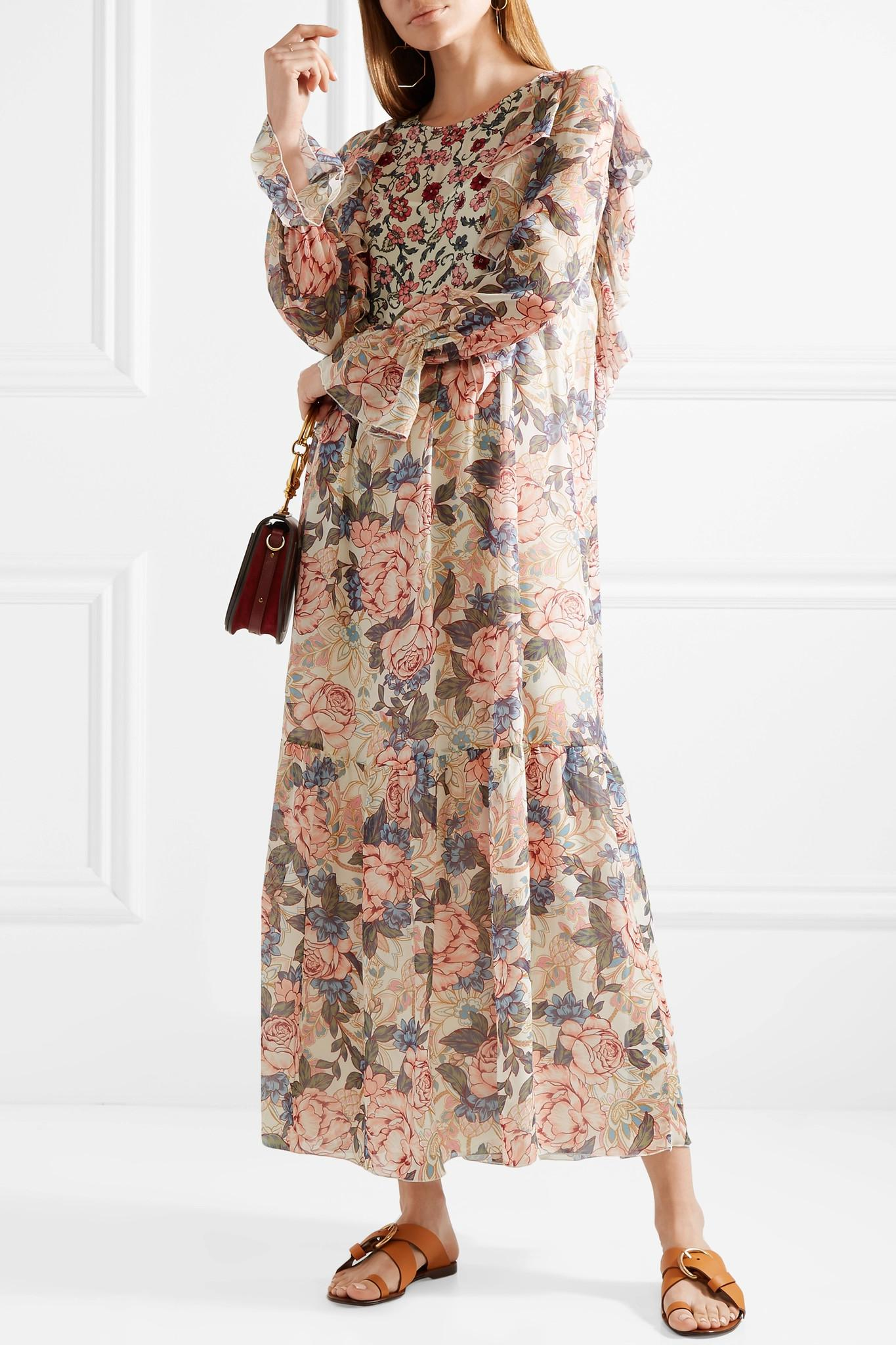 be13f508f6ad Lyst - See By Chloé Printed Silk Crepe De Chine And Chiffon Maxi ...