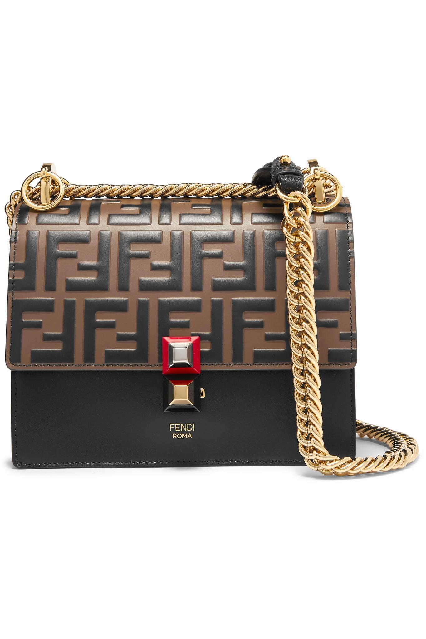 874c03650f Fendi Kan I Small Embossed Leather Shoulder Bag in Black - Lyst