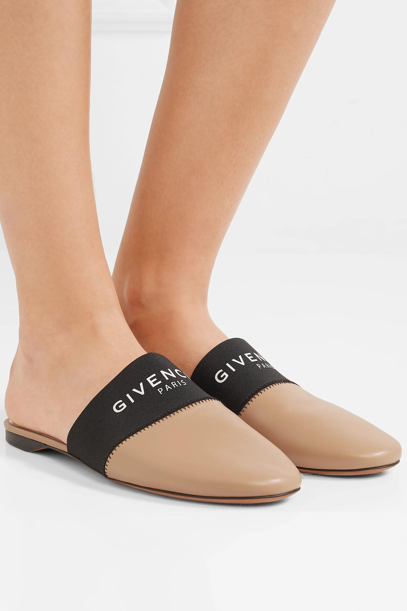 f21074744dad Givenchy - Black Bedford Logo-print Elastic And Leather Slippers - Lyst.  View fullscreen