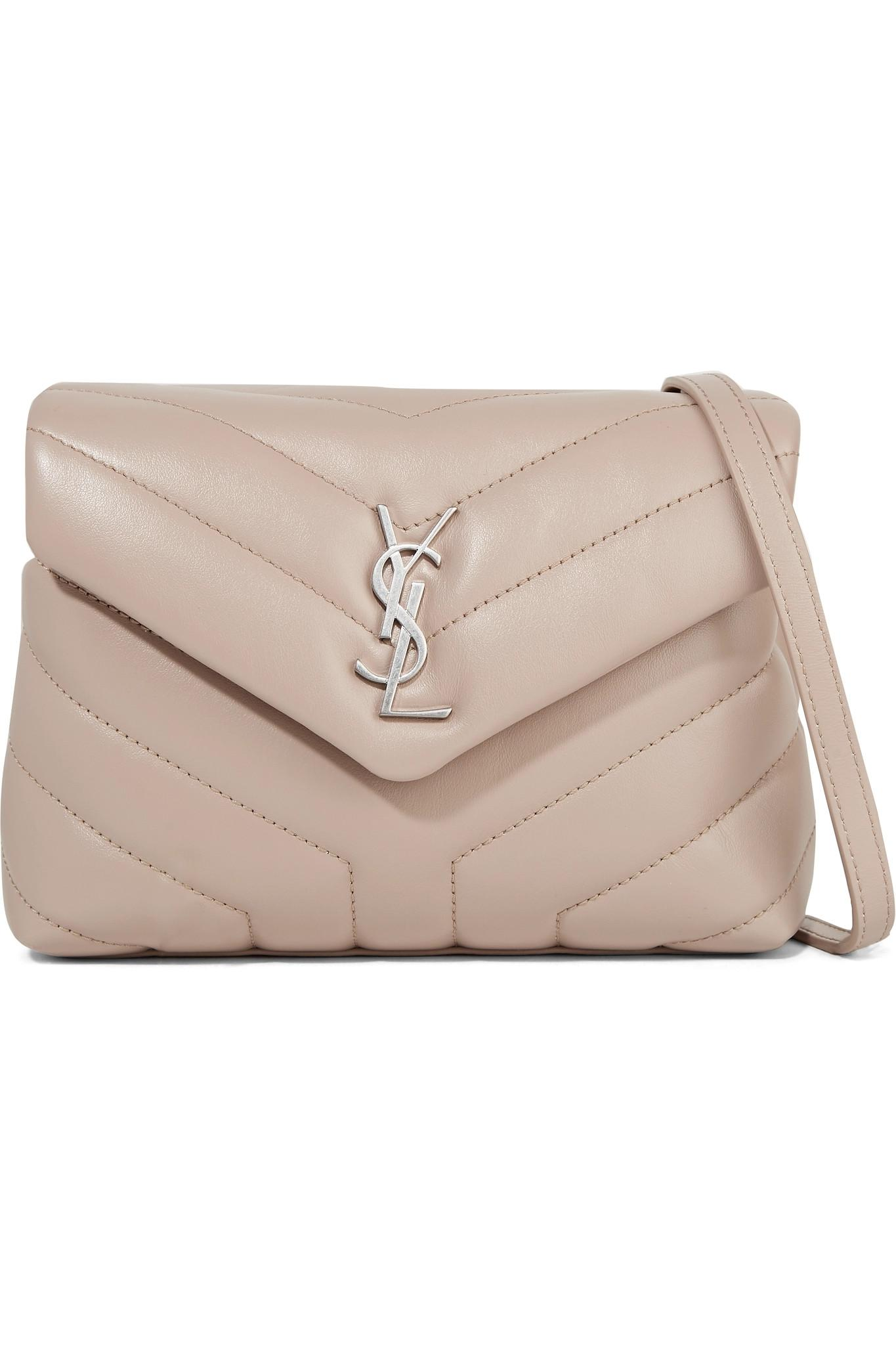 1d07e8cc8edcb Lyst - Saint Laurent Loulou Toy Quilted Leather Shoulder Bag in Natural