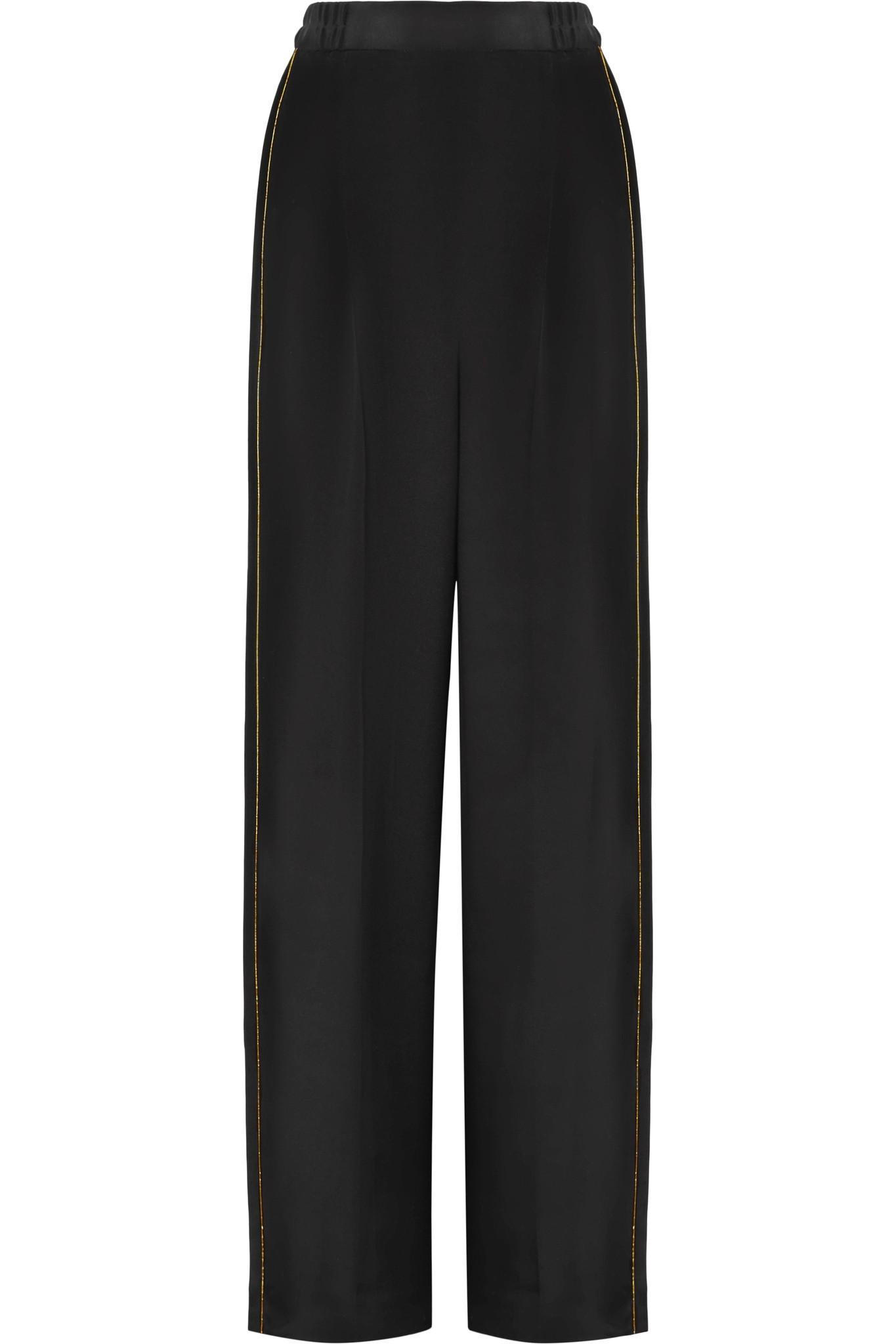Deals Sale Online Metallic-trimmed Silk Crepe De Chine Wide-leg Pants - Black Stella McCartney Clearance Manchester Cheap Official Site Clearance Finishline Websites Cheap Online dc4i3p