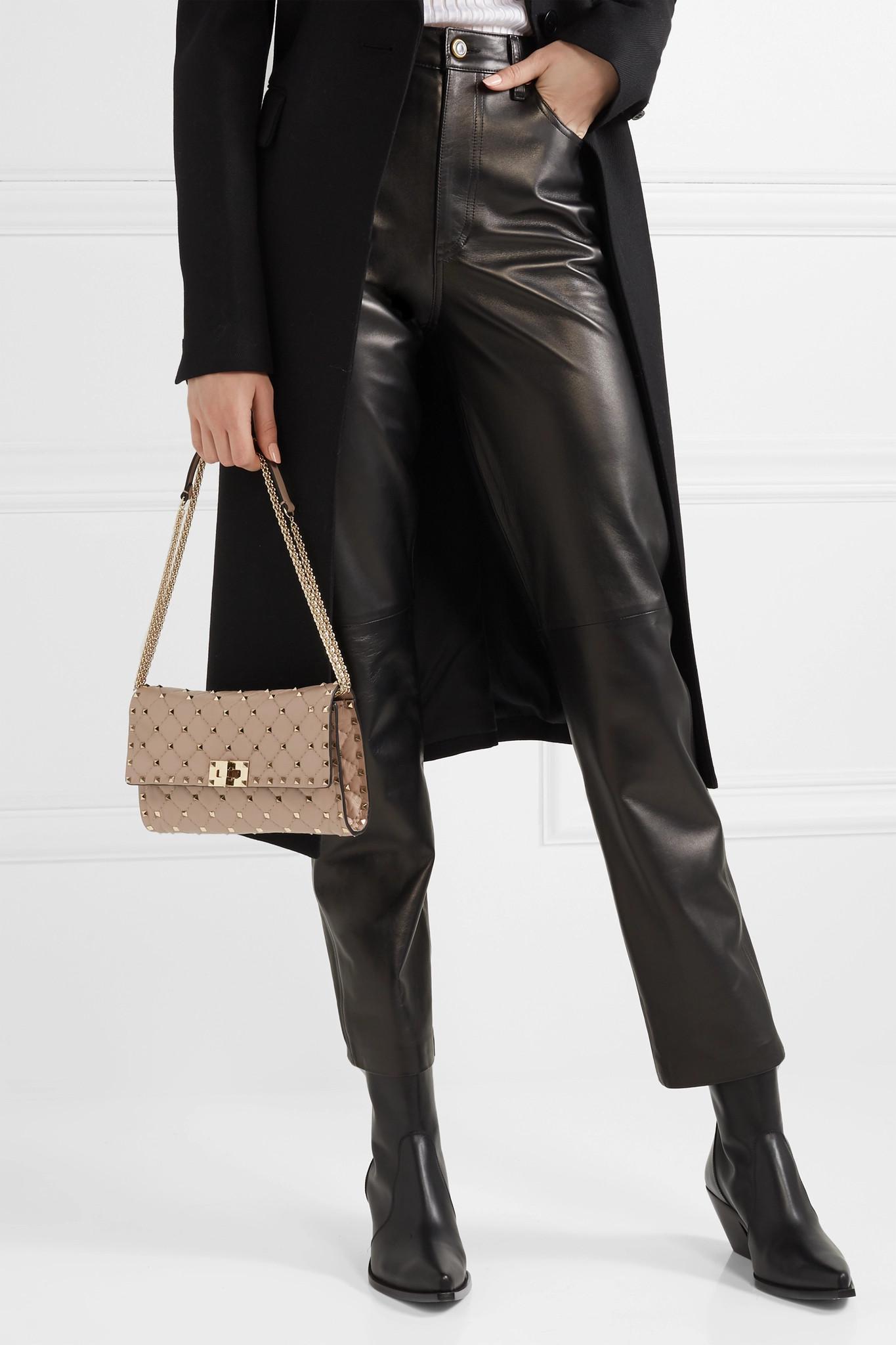 9e032a21a3cf Valentino Garavani The Rockstud Spike Quilted Leather Shoulder Bag ...