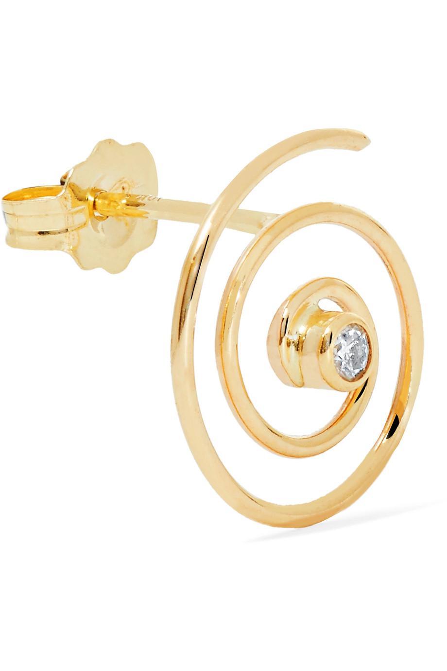 Beaufille Spiral 10-karat Gold Diamond Earring DcLAn4xf7