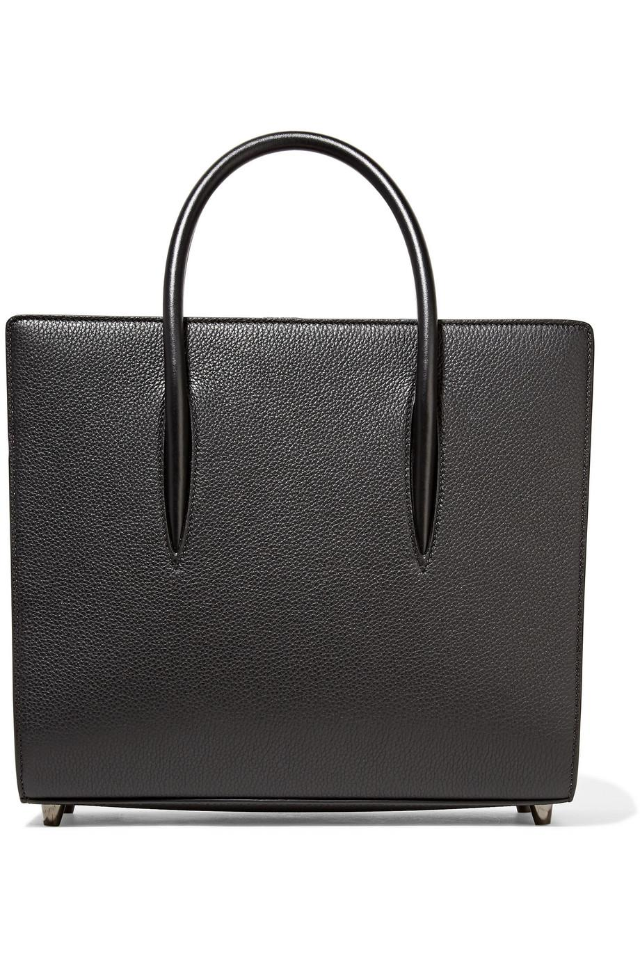 Paloma Medium Spiked Textured, Smooth And Patent-leather Tote - Black Christian Louboutin