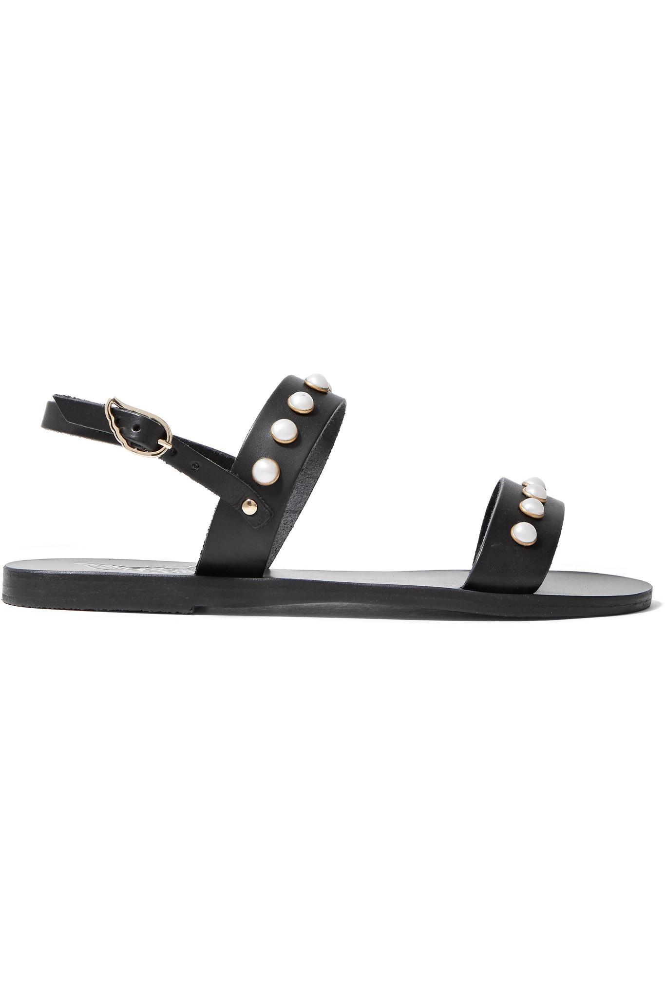 Sandales en cuir et satin à noeud ClioAncient Greek Sandals IR6mnvm