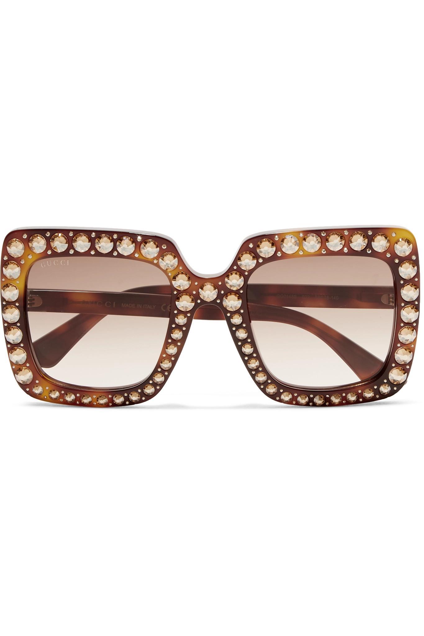Round-frame Crystal-embellished Glittered Acetate Sunglasses - Gold Gucci lRTQtnUdin