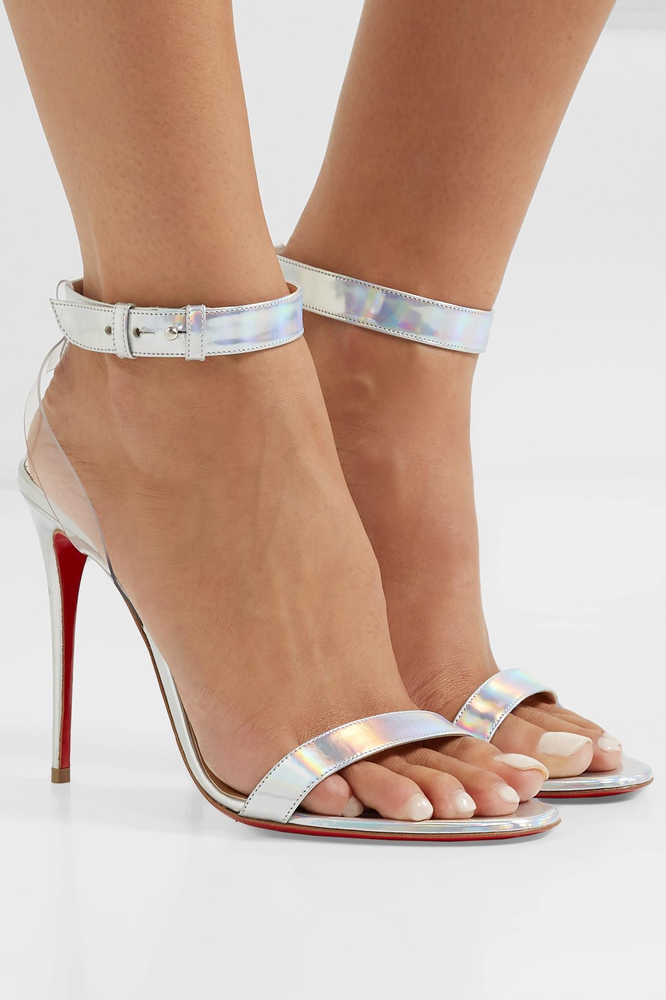 5cca4d1daae Christian Louboutin - Metallic Jonatina 100 Pvc-trimmed Iridescent Leather  Sandals - Lyst. View fullscreen