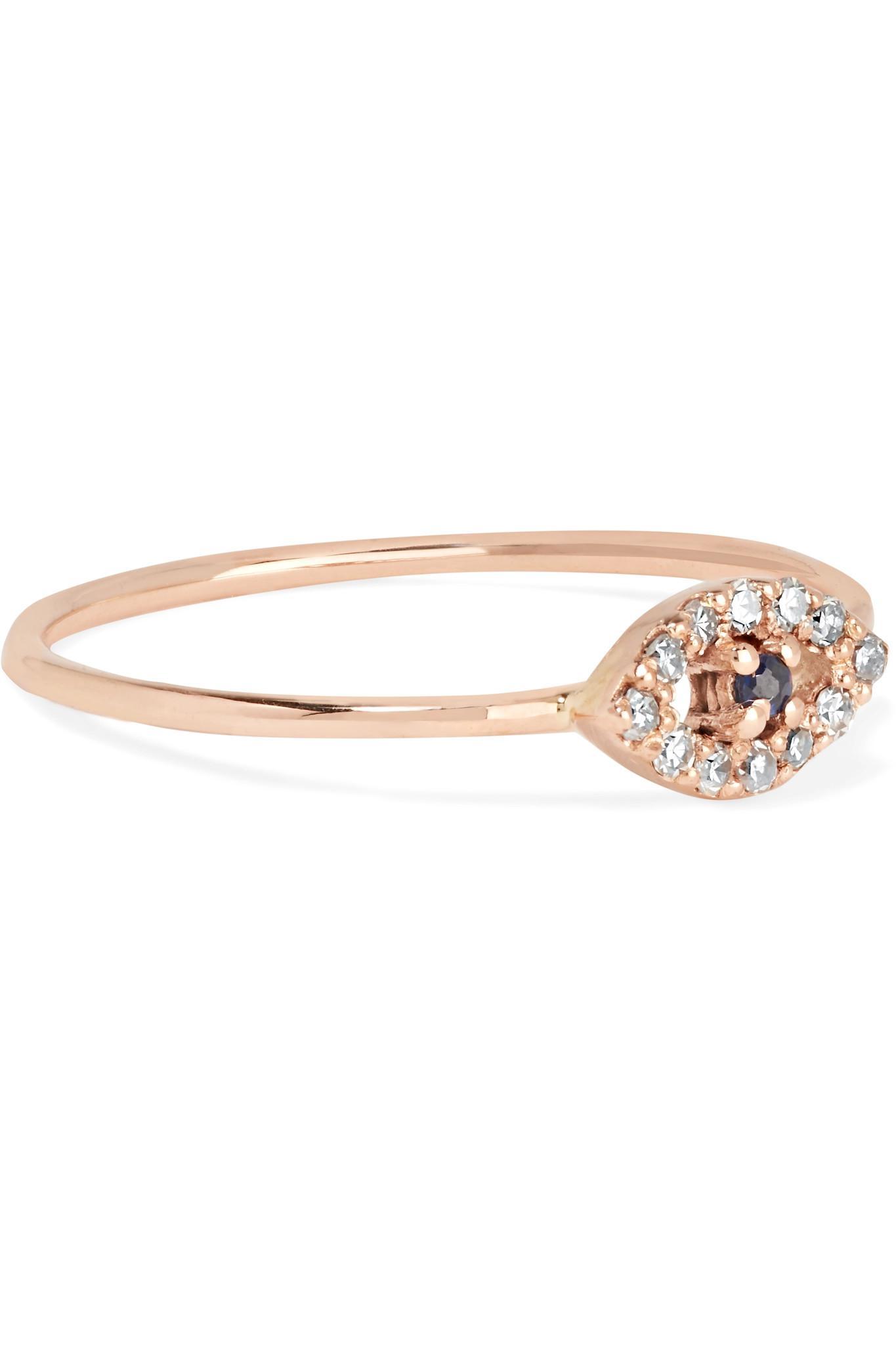 Diamond, sapphire & rose-gold ring Ileana Makri