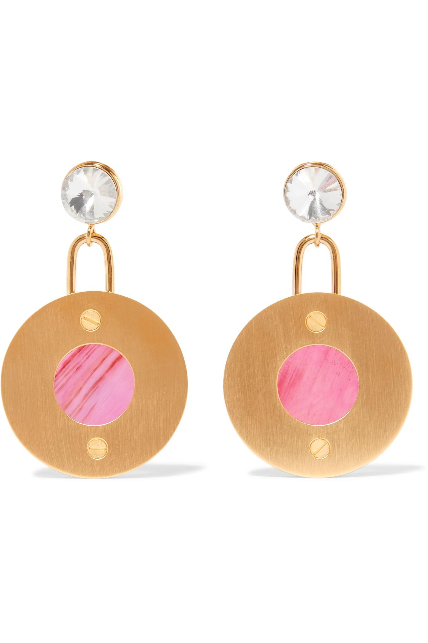 6e5464371 Lyst - Marni Gold-tone, Resin And Crystal Earrings in Pink