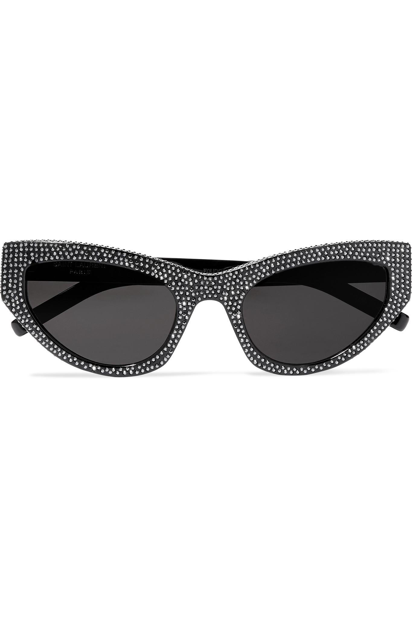 f98fac949b4 Saint Laurent Crystal-embellished Cat-eye Acetate Sunglasses in ...