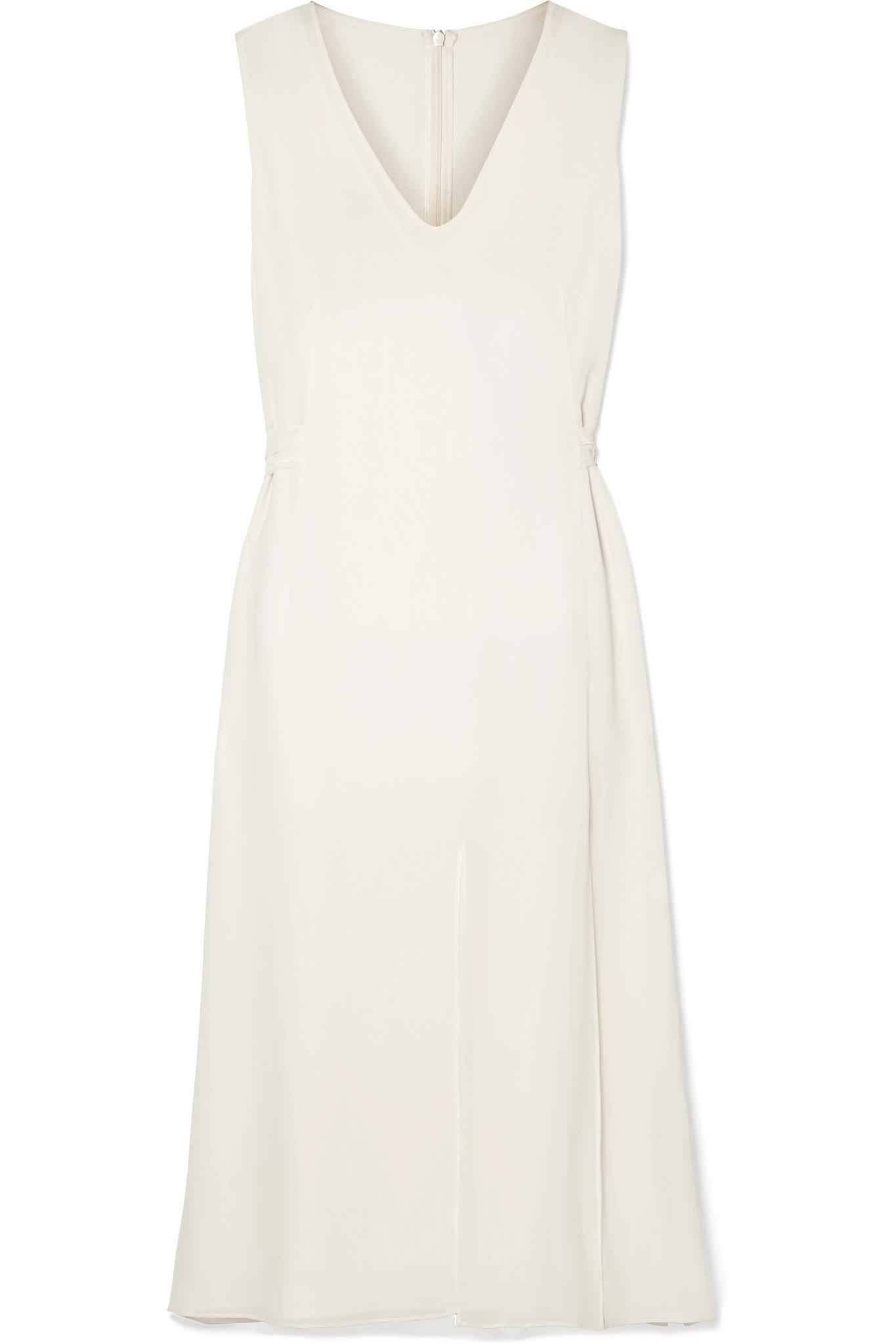 5894a4b90f Akris Silk-georgette Midi Dress in Natural - Lyst