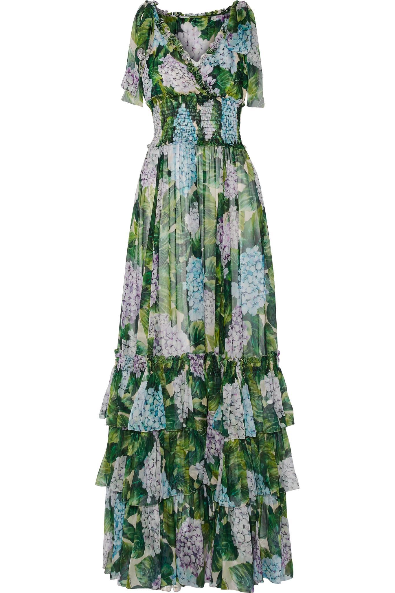 01eea7c3 Dolce & Gabbana Ruffled Floral-print Silk-chiffon Gown in Green - Lyst